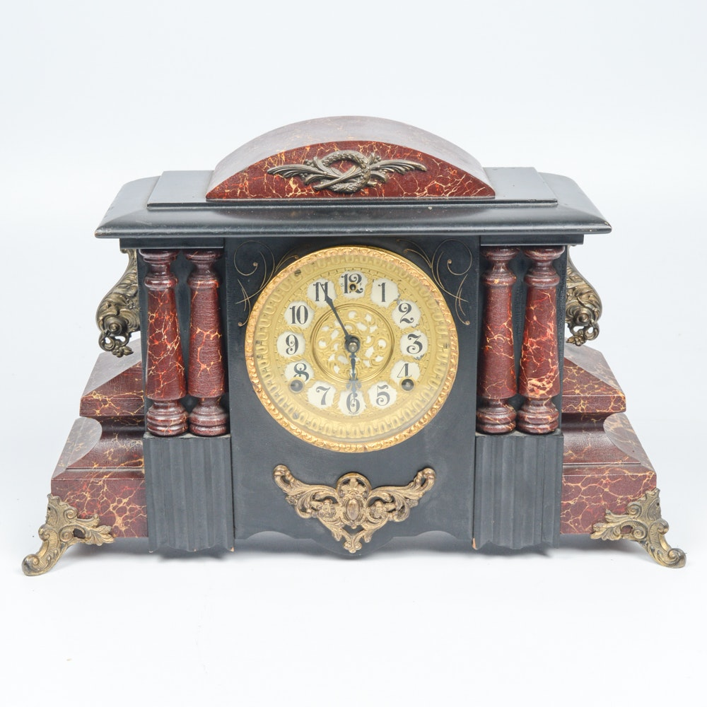 Ornate Vintage Gilbert Mantle Clock
