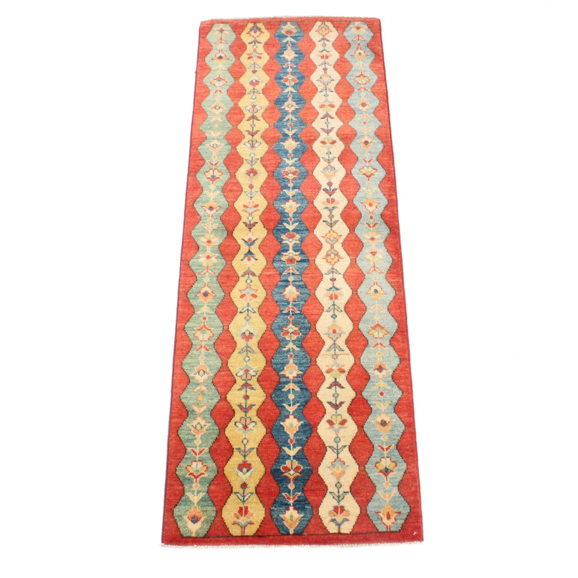 Hand-Knotted Afghani Caucasian Carpet Runner