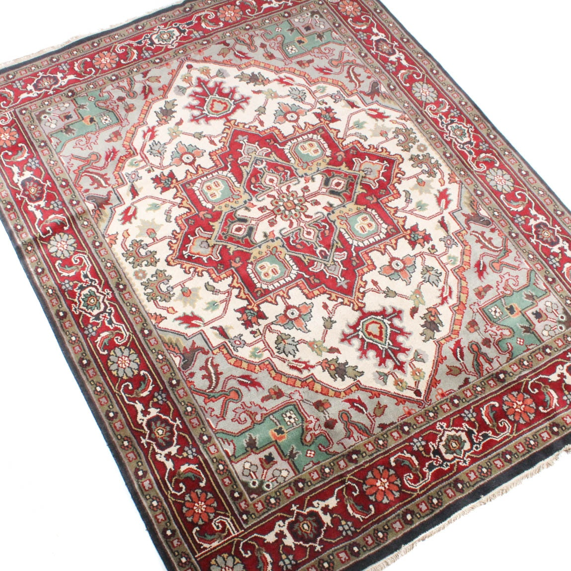 Hand Knotted Indo-Persian Heriz Area Rug