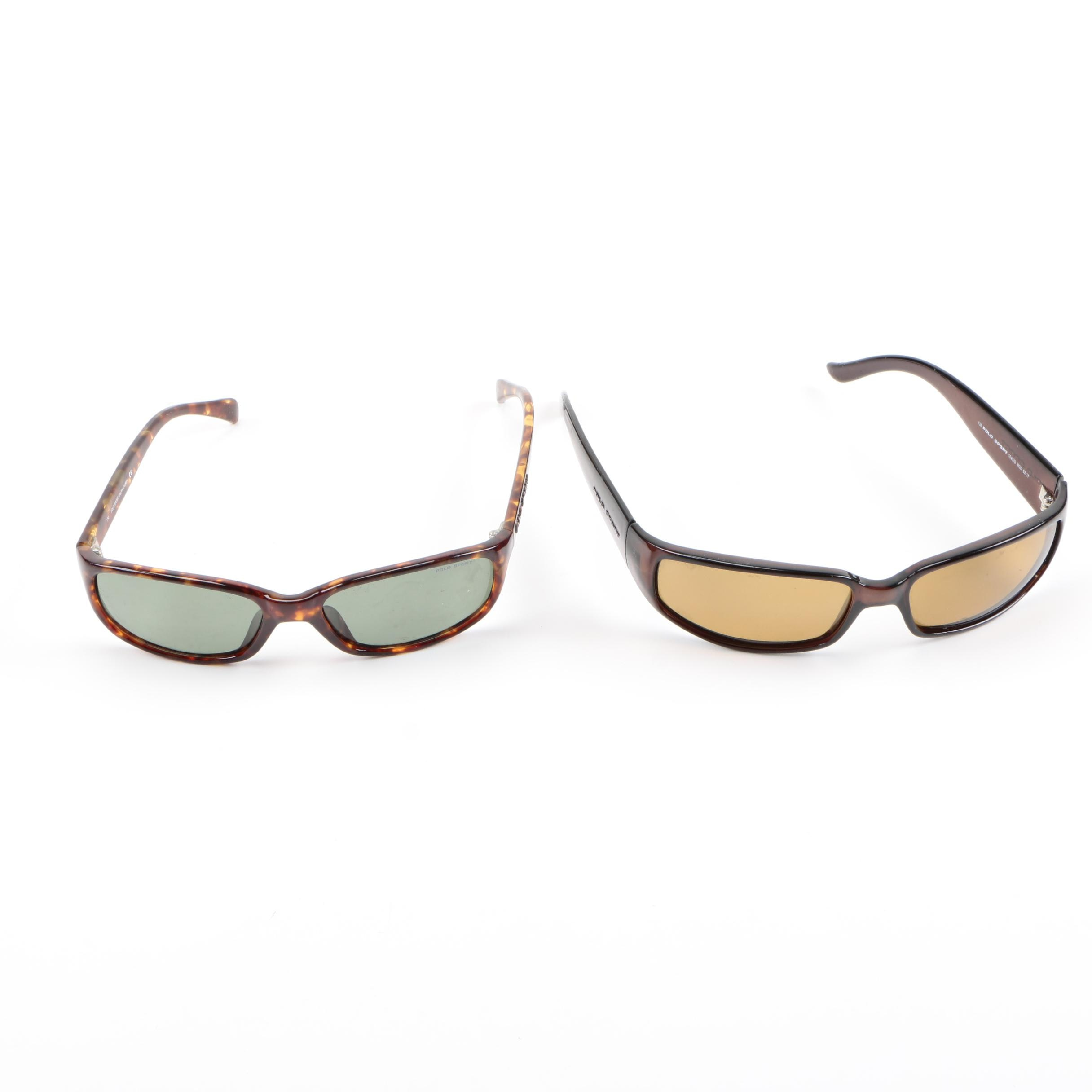 Two Pair of Brown Frame Sunglasses by Polo Sport Ralph Lauren