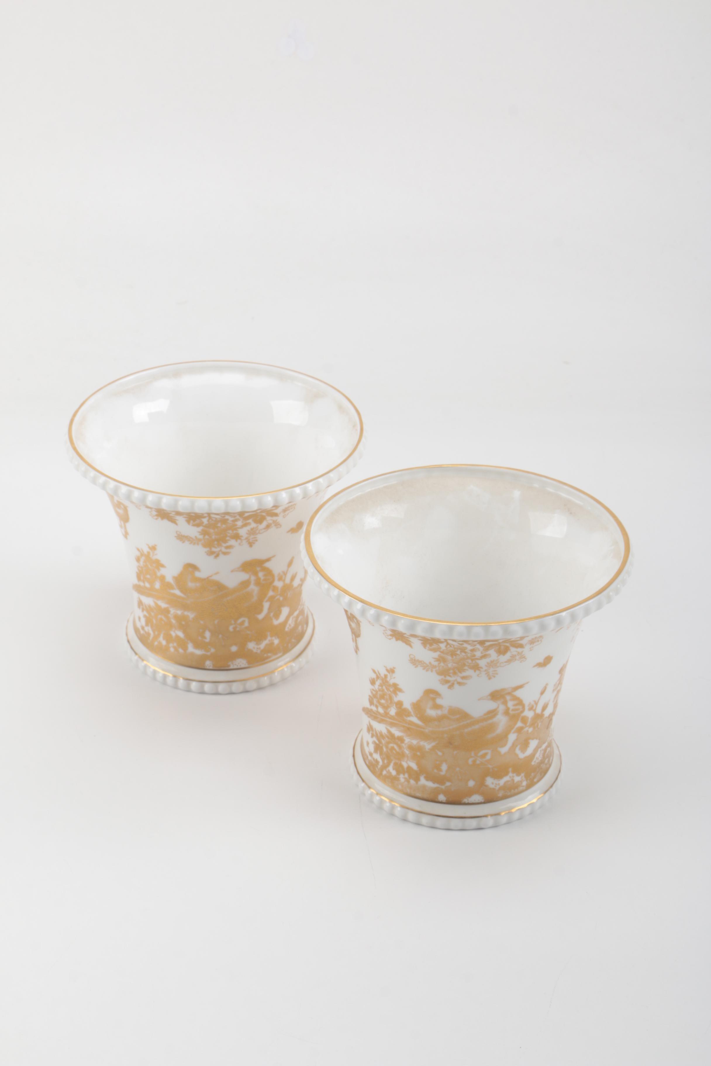 Royal Crown Derby 'Gold Aves' Bone China Vases