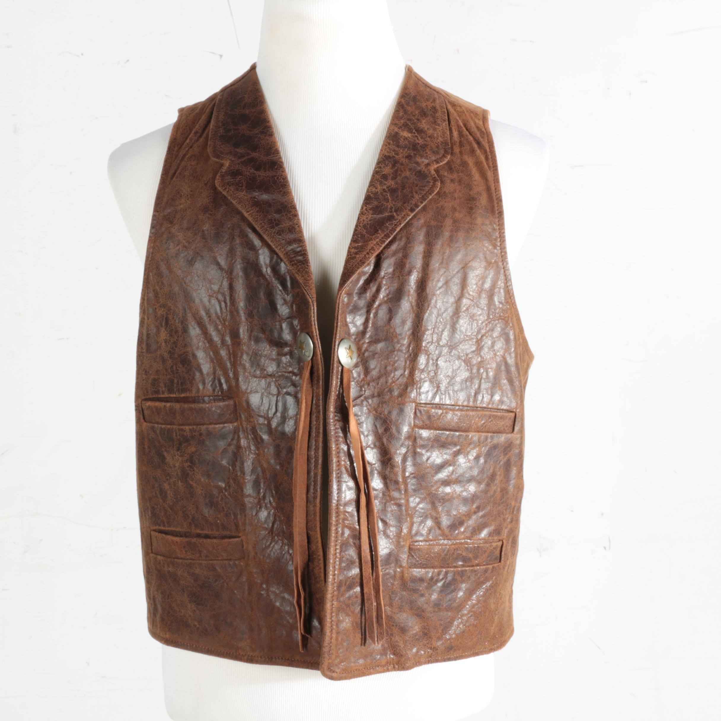 Men's Scully Western Style Brown Distressed Leather Vest