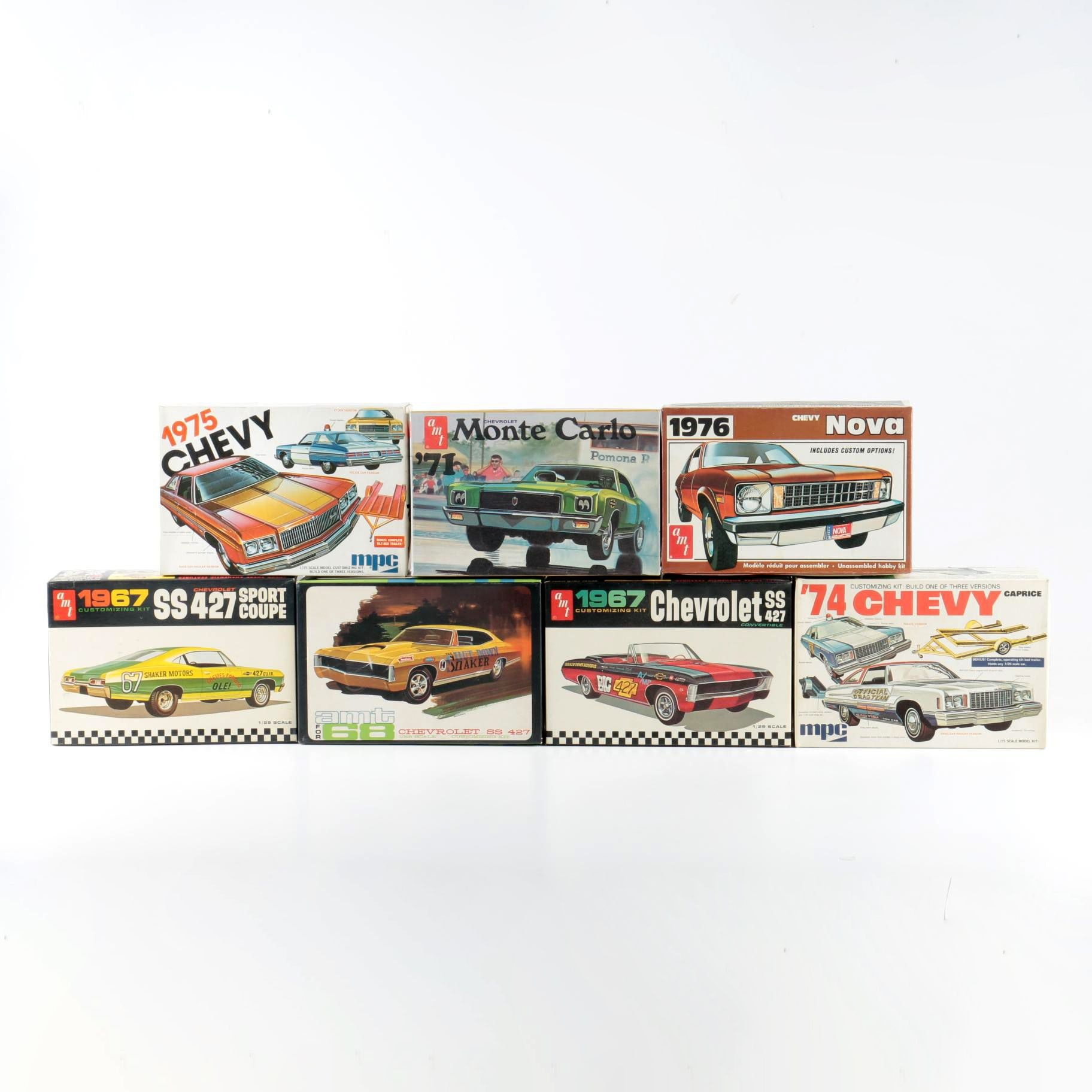 Seven 1970s Chevy Model Kits