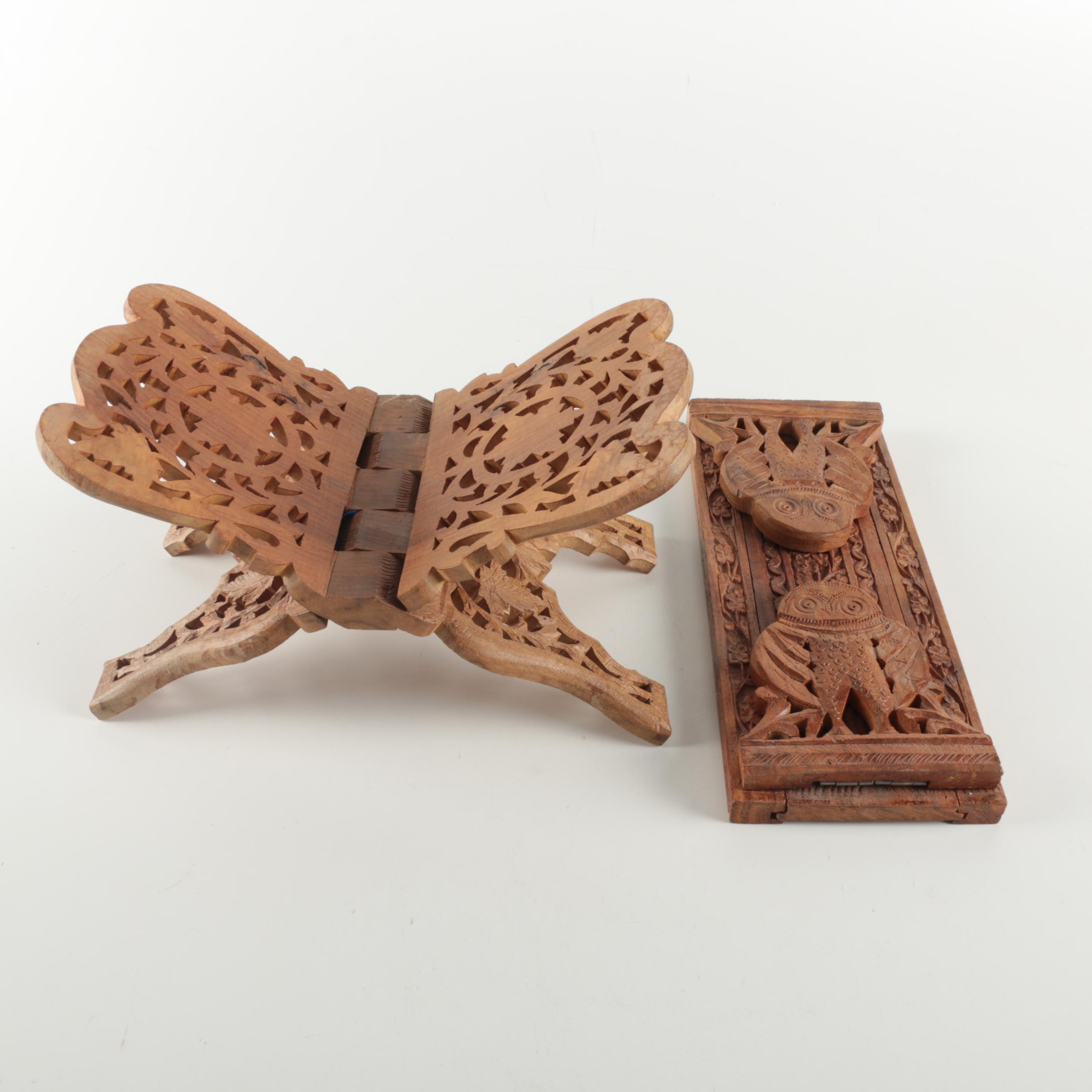 Carved Wooden Foldable Stands
