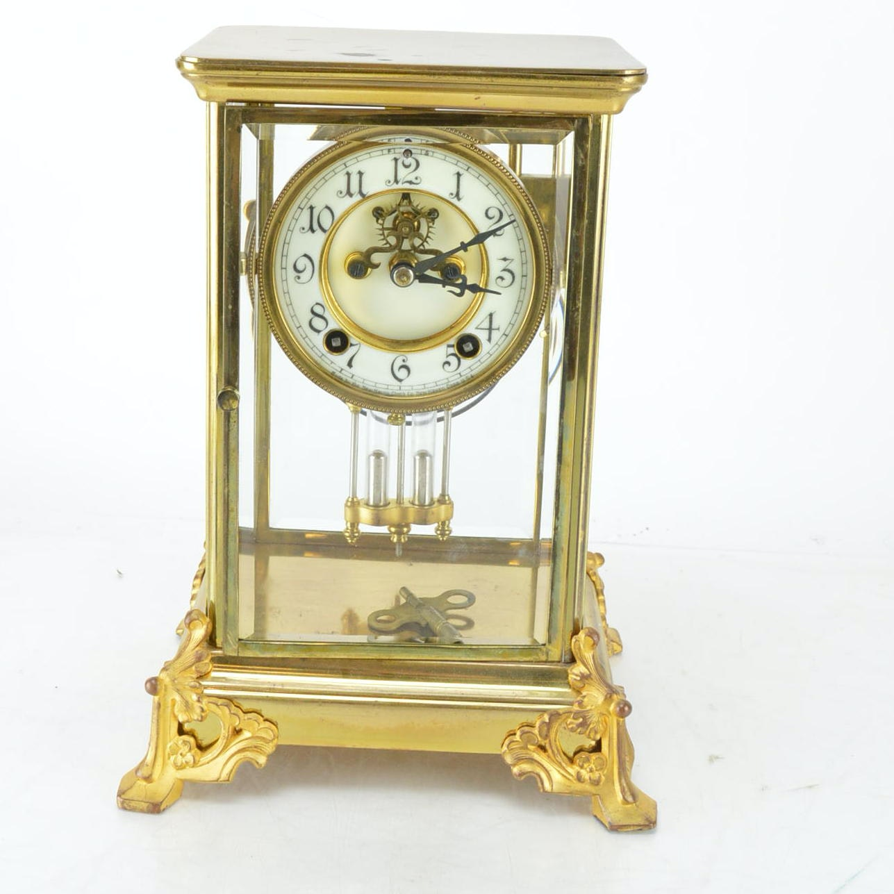 Vintage Brass and Glass Mantel Clock