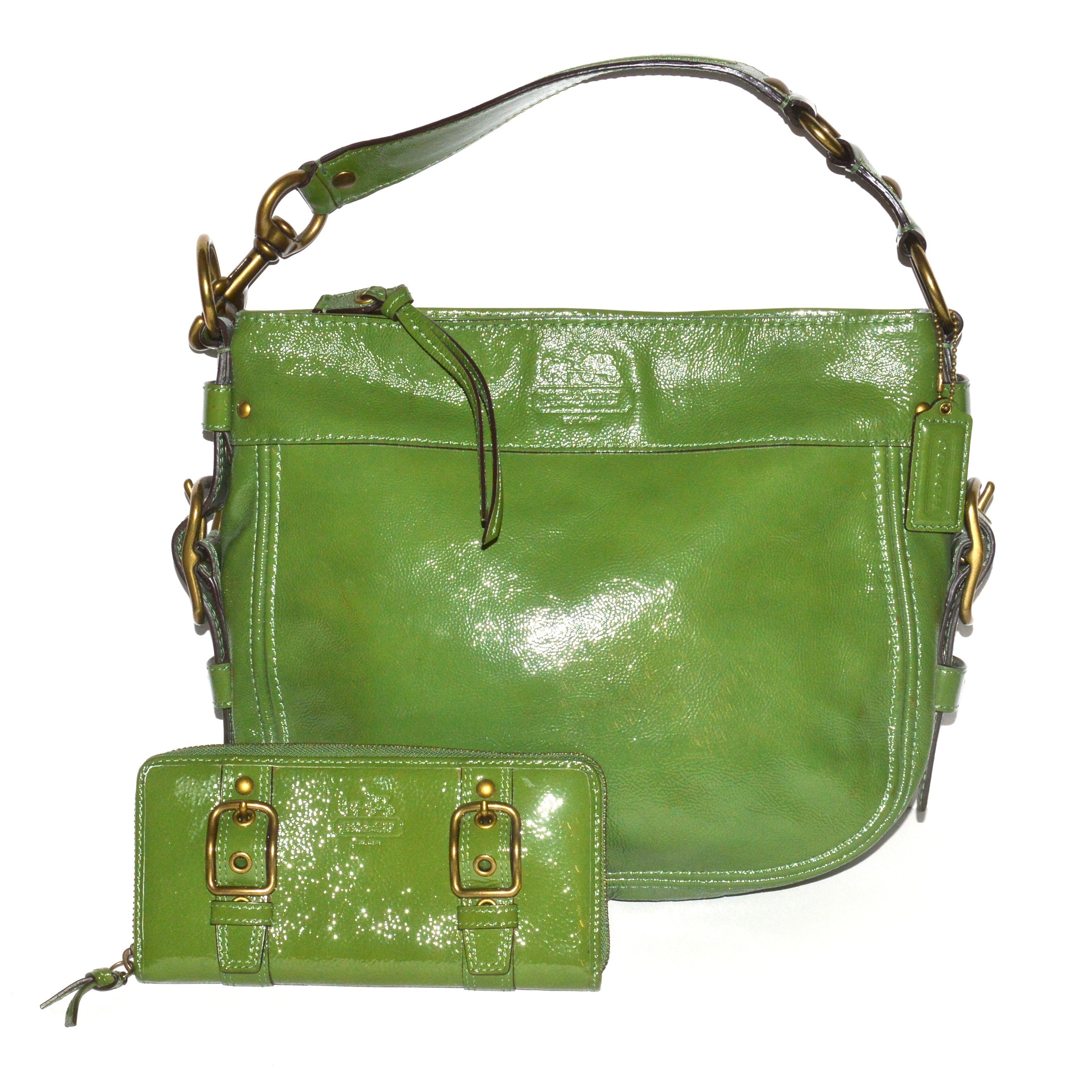 Coach Handbag and Wallet in Lime Green Patent Leather