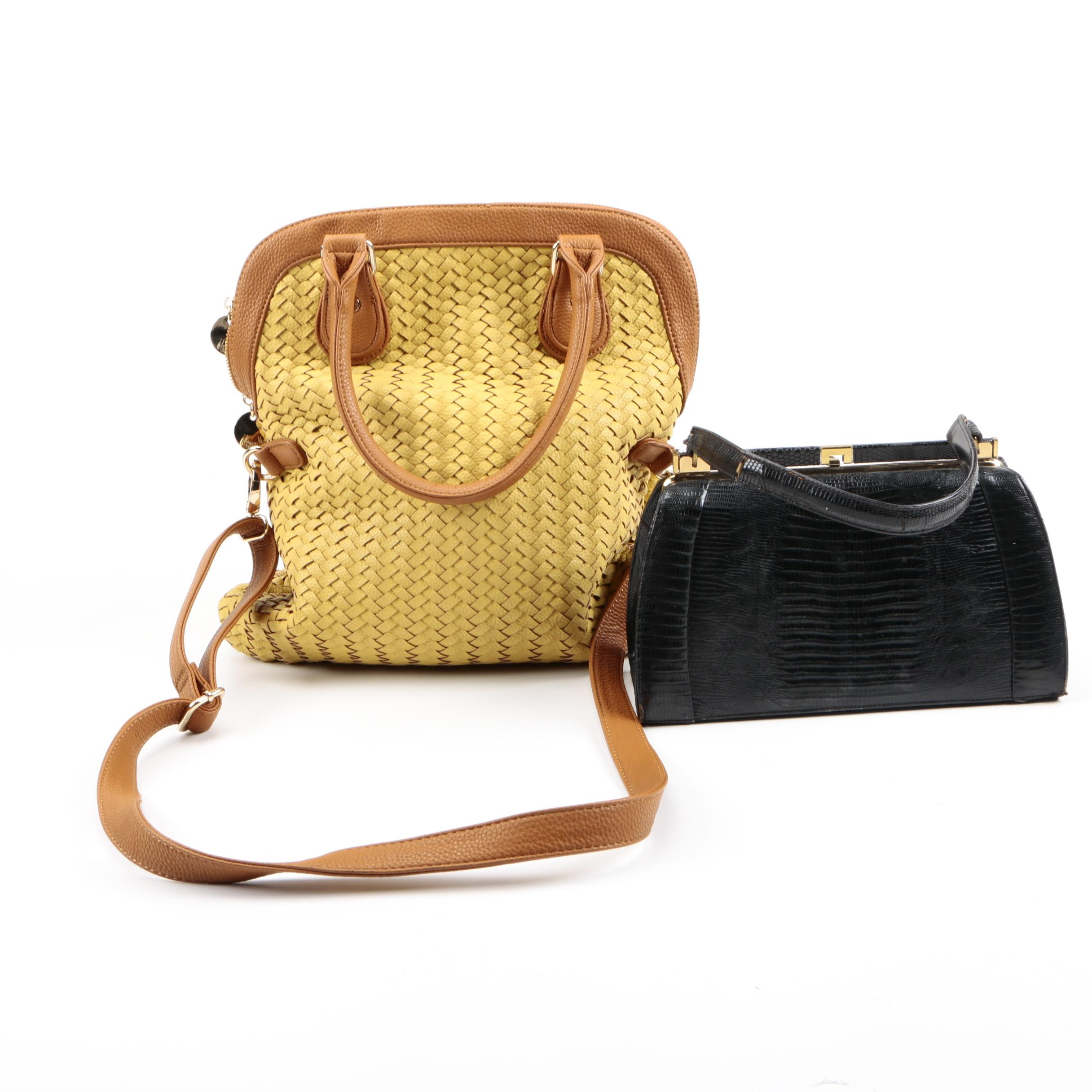 Woven Leather and Vintage Lizard Skin Handbags