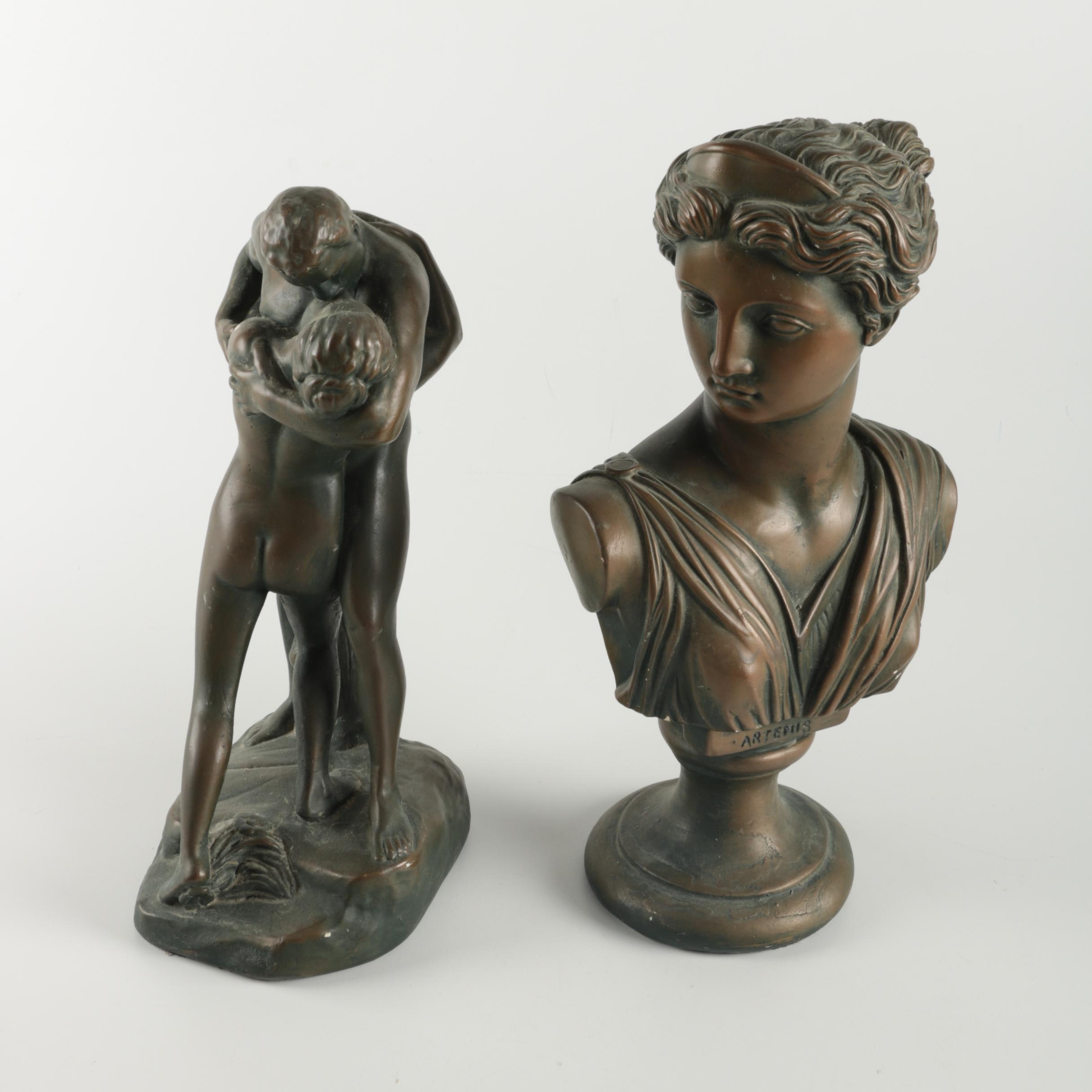 Alexander Backer Bronze Figurine and Bust of Artemis