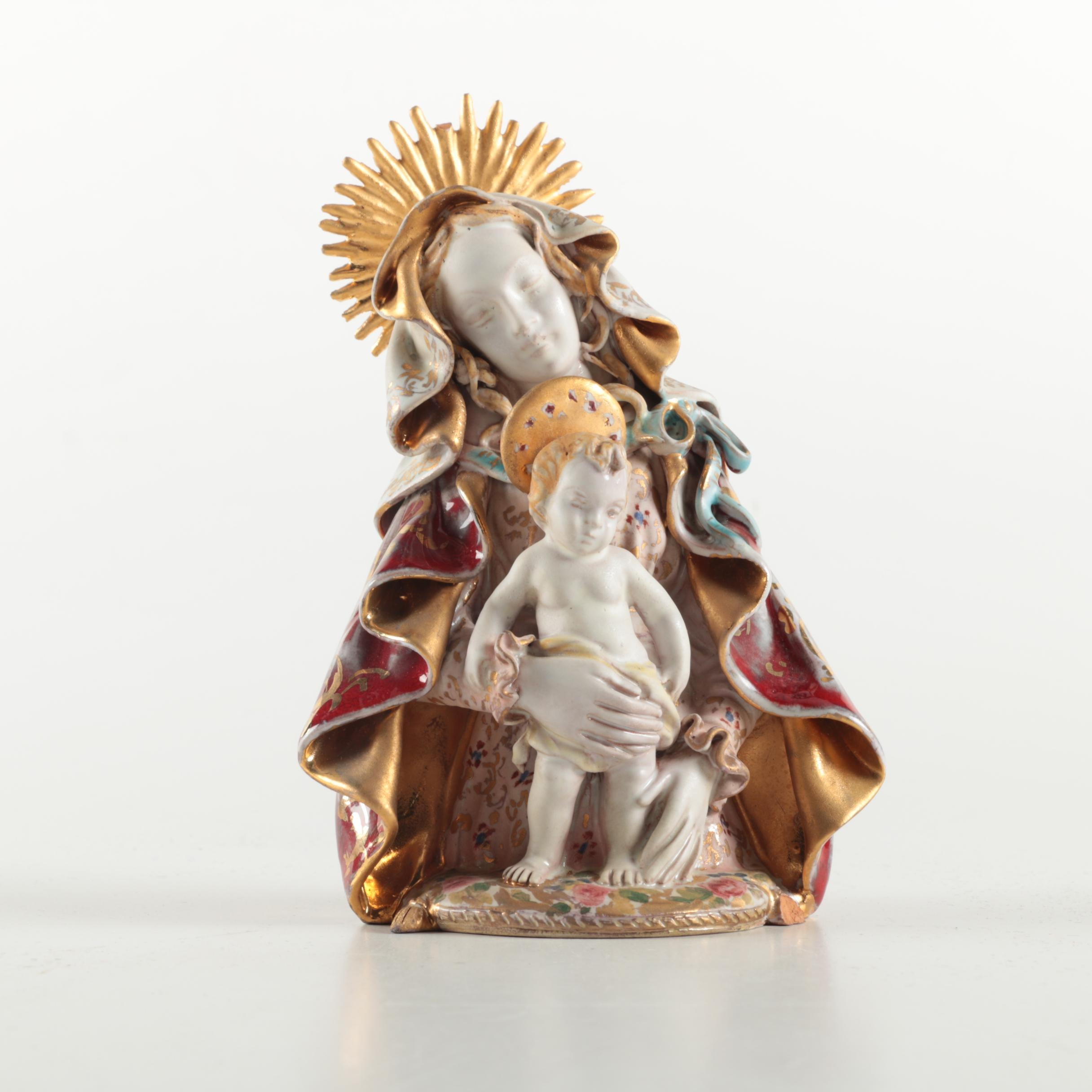 Eugenio Pattarino Italian Porcelain Madonna and Child Bust