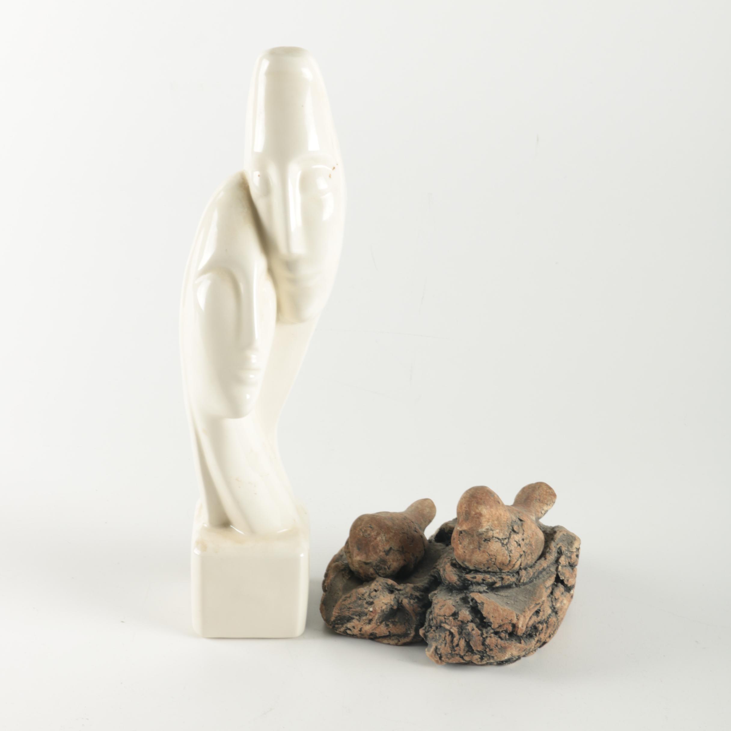 Stoneware Bird Figures and Ceramic Statuette