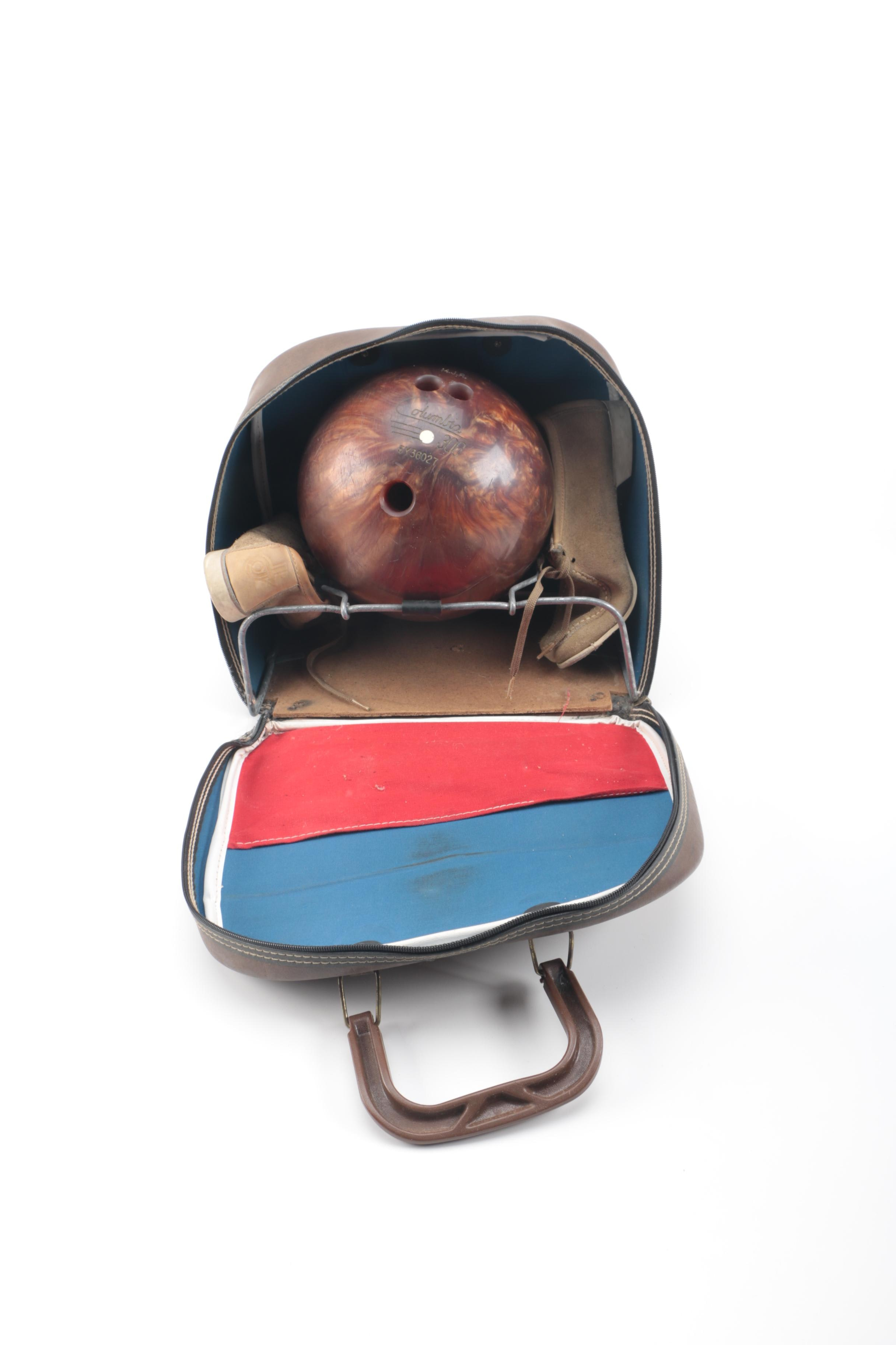 Bowling Ball in Bag with Shoes