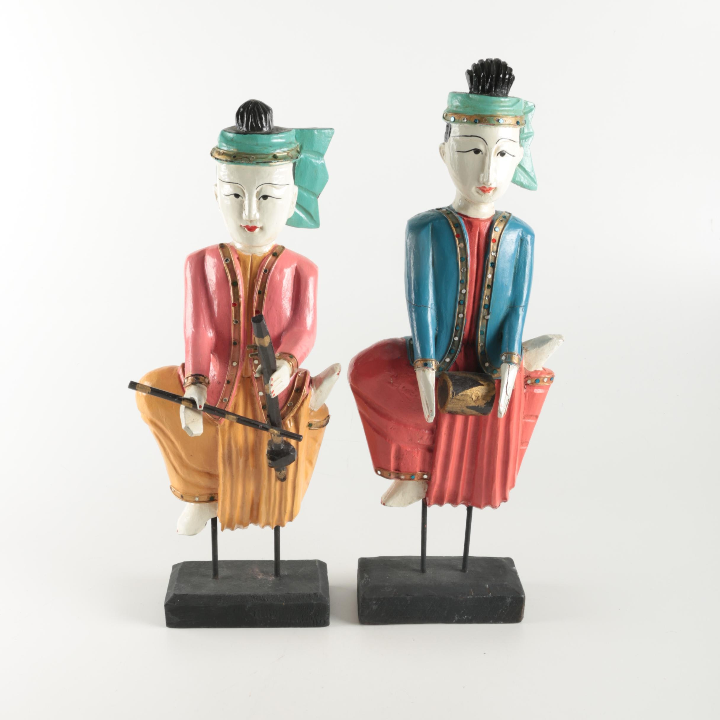 Wood Carved Chinese Musician Figurines