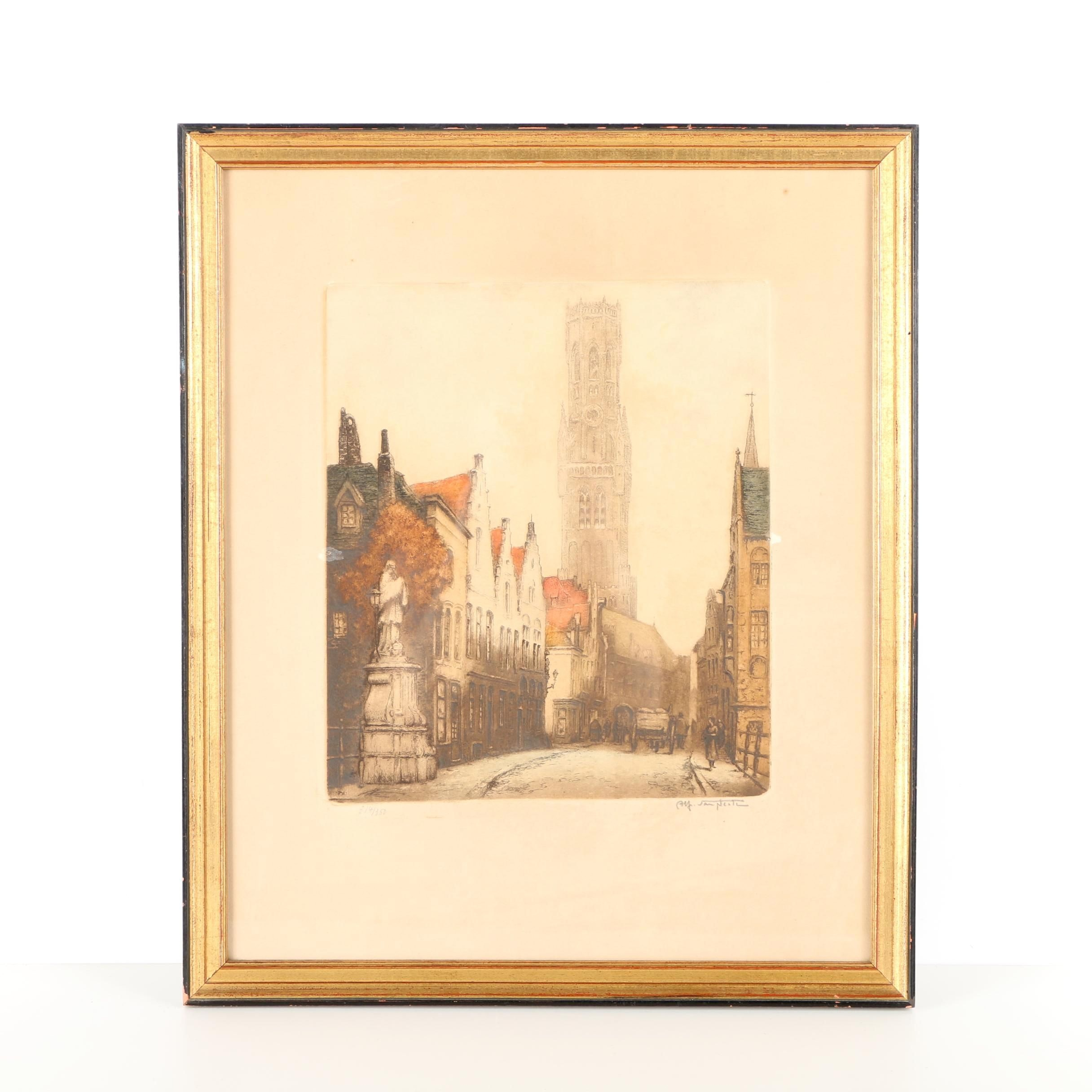 Limited Edition Etching on Paper of Medieval Architecture