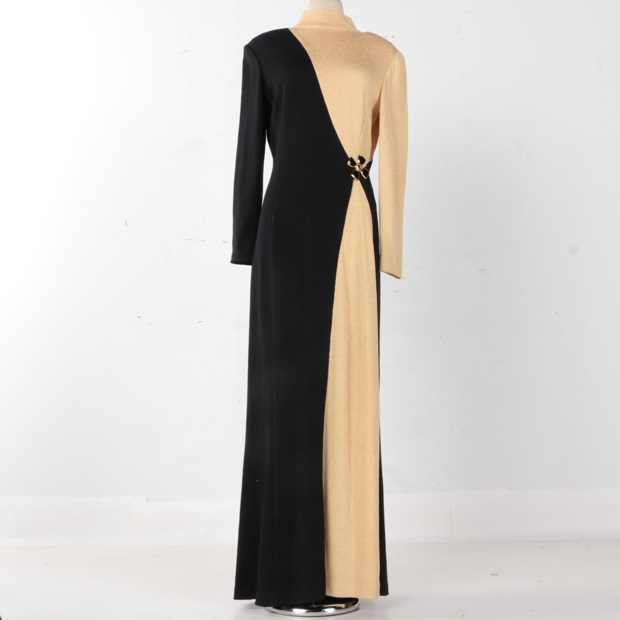 St. John Knit Evening Black and Tan Full Length Knit Dress