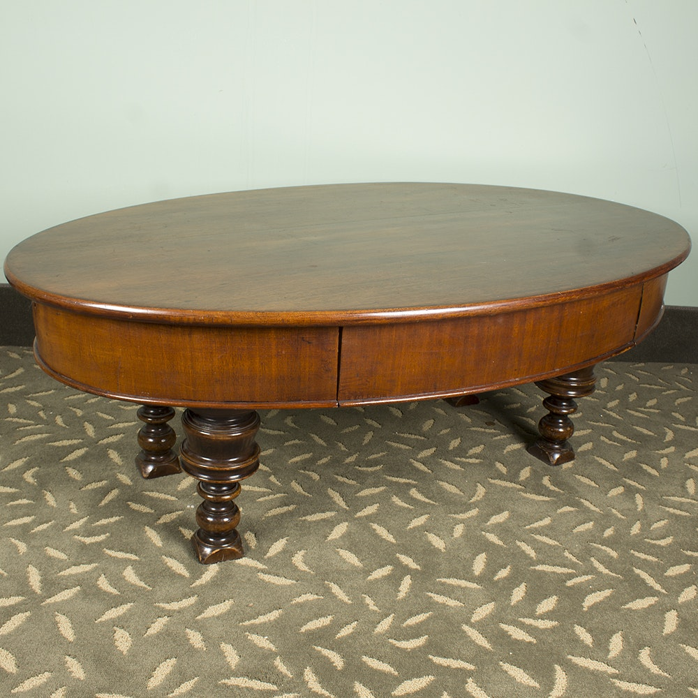 Oval Dark Stained Wooden Coffee Table