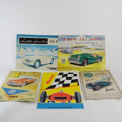 Collection of Vintage Race Car Tin Signs