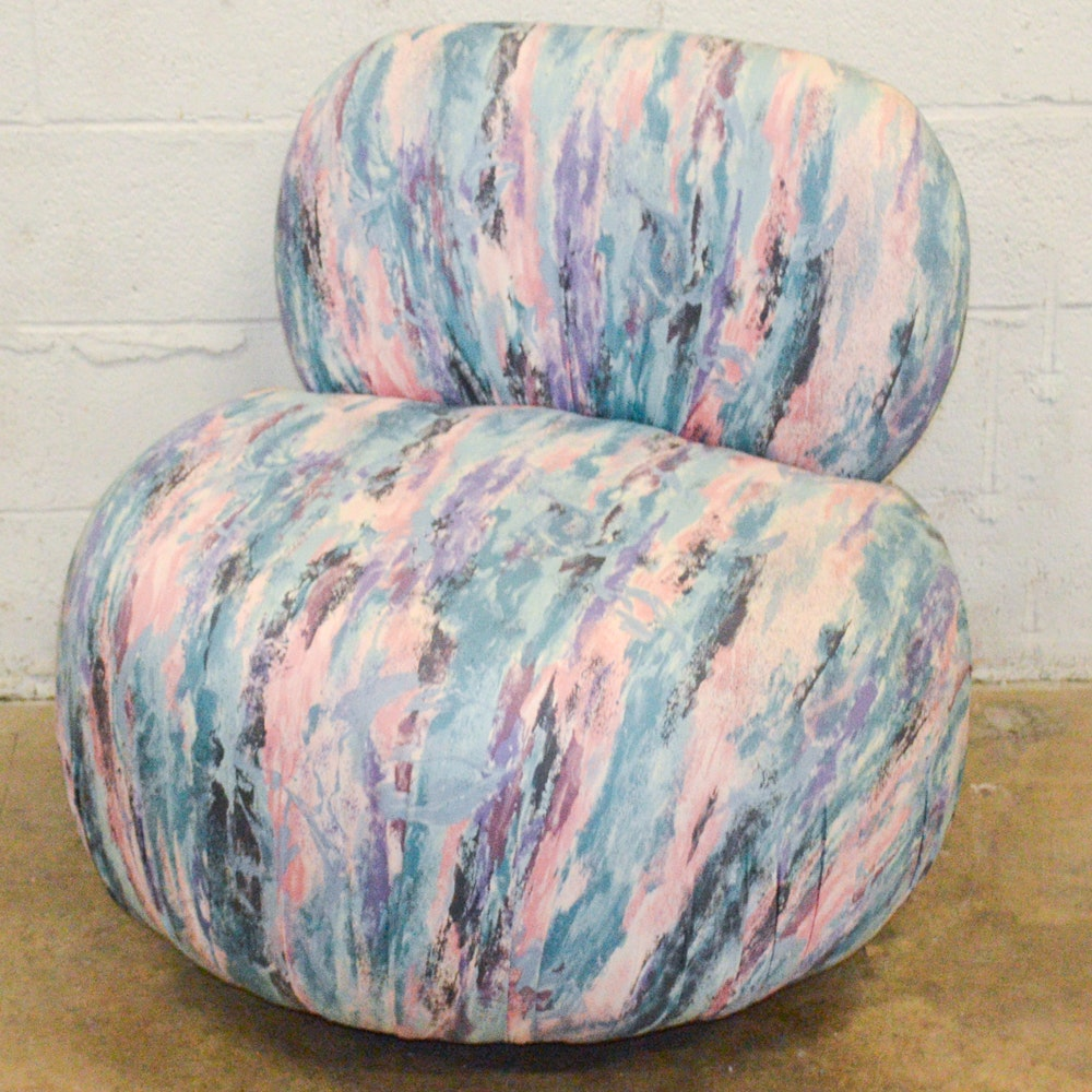 Modern Abstract Print Upholstered Chair