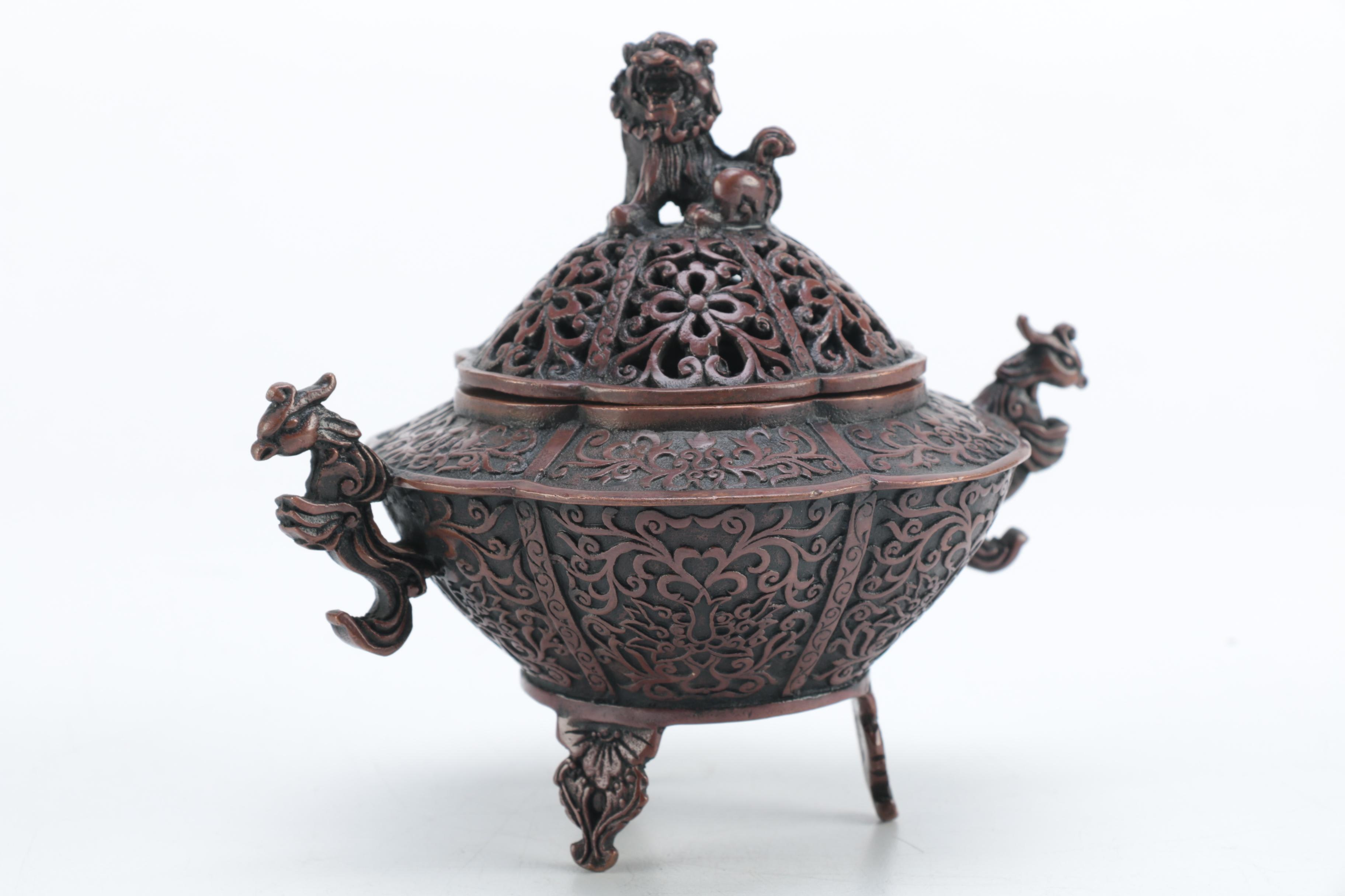 Chinese Incense Burner with Lion Motif