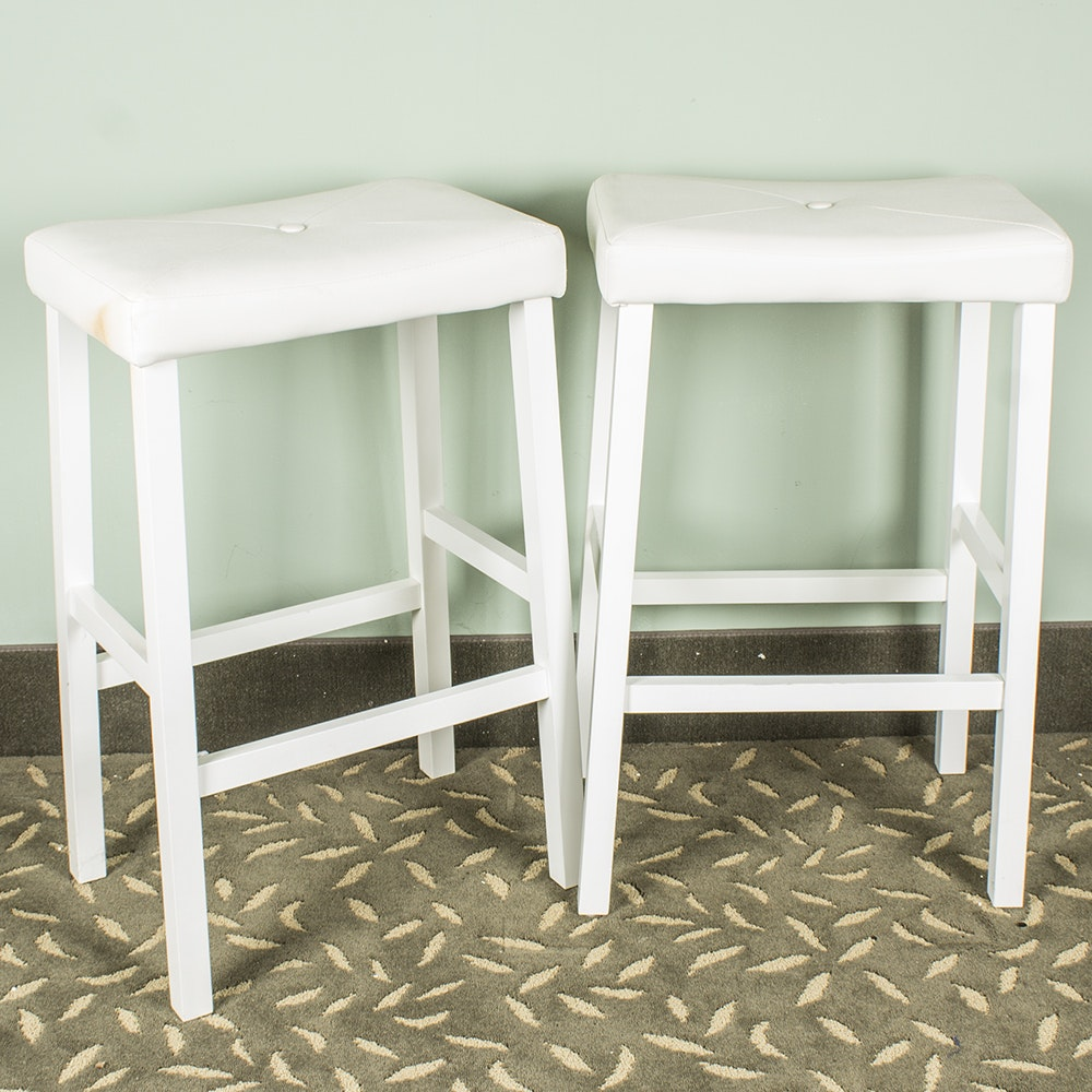 Pair Great Harvest Furniture White Faux Leather Stools