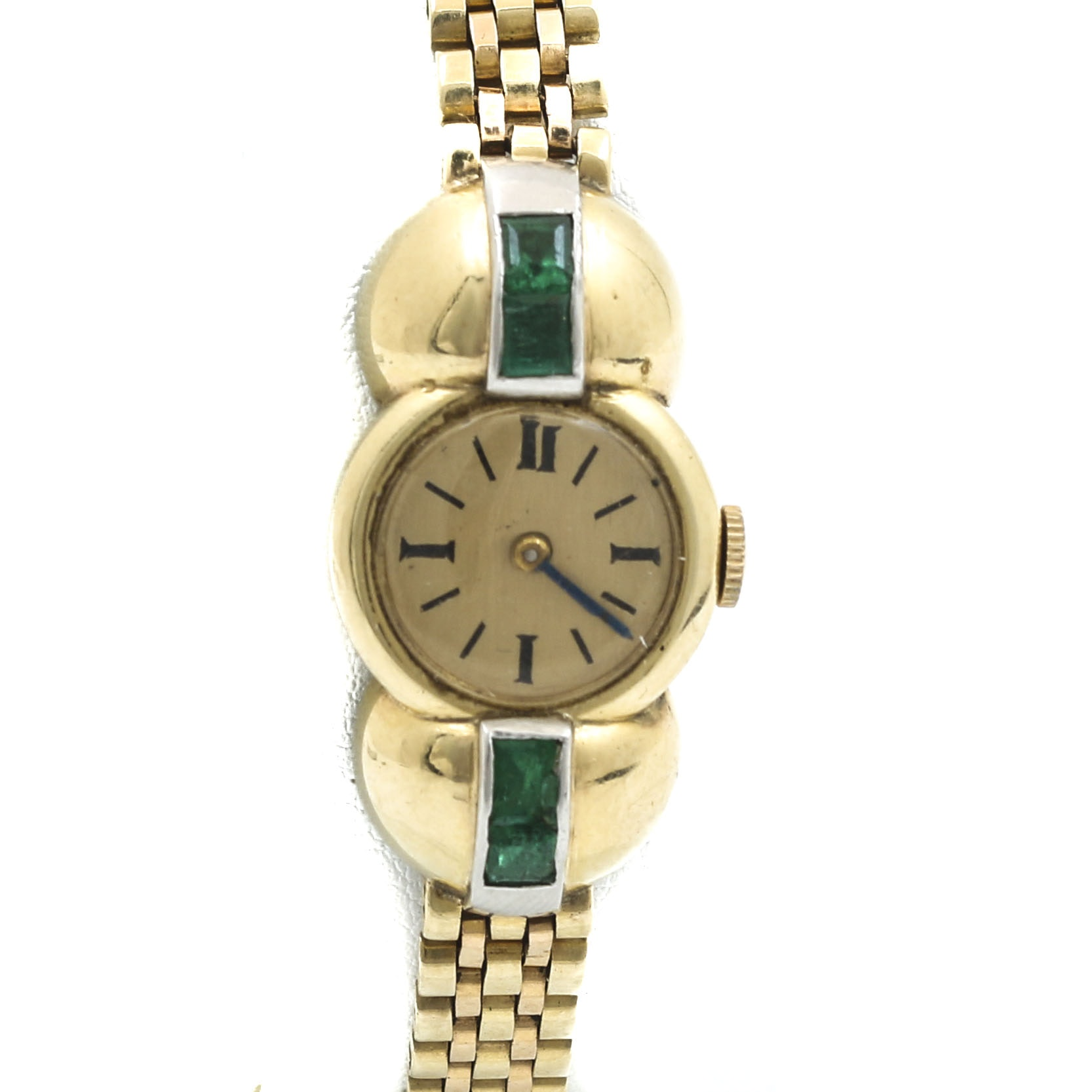 14K Yellow Gold Emerald Wristwatch