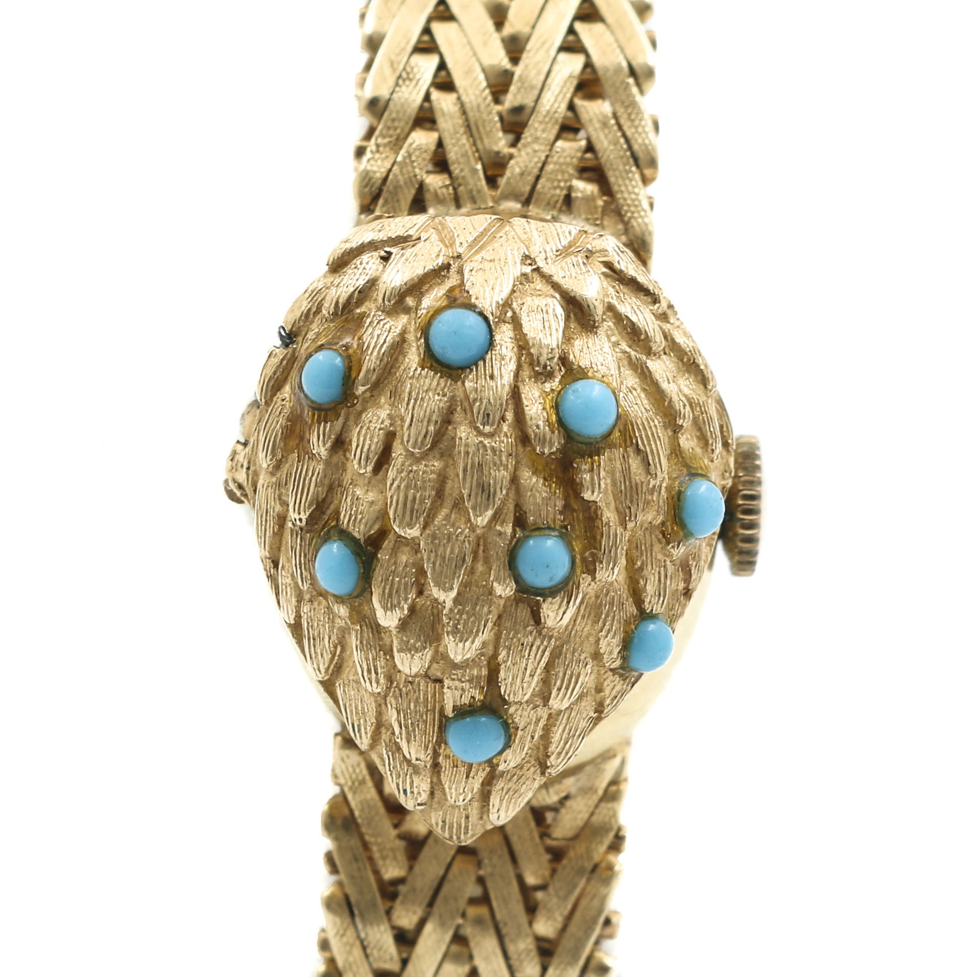 Geneve 14K Yellow Gold Turquoise Wristwatch