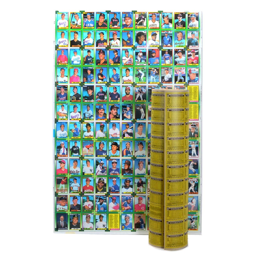 Four Early 1990s Topps Baseball Cards Uncut Sheets