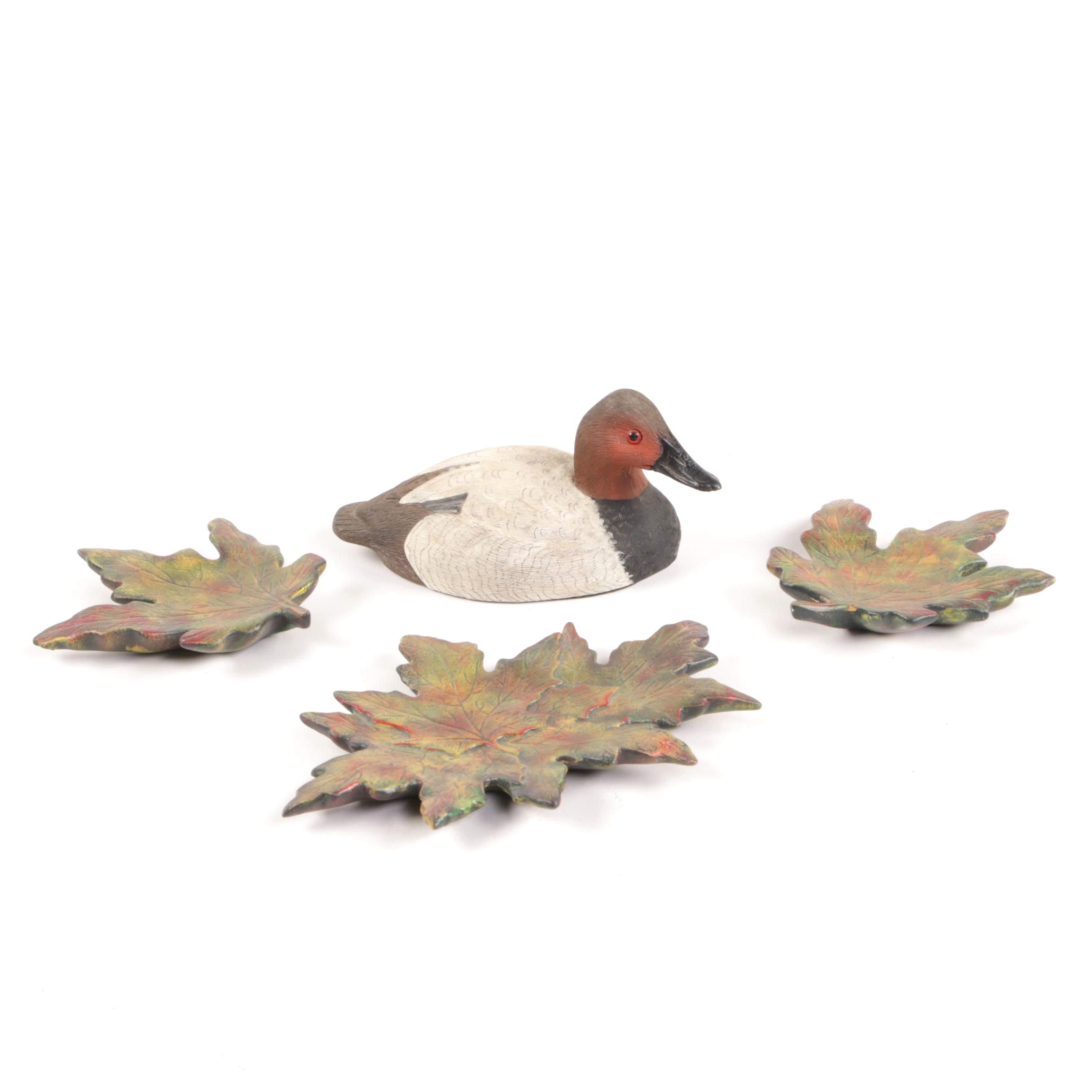 Ceramic Leaf and Duck Figurines