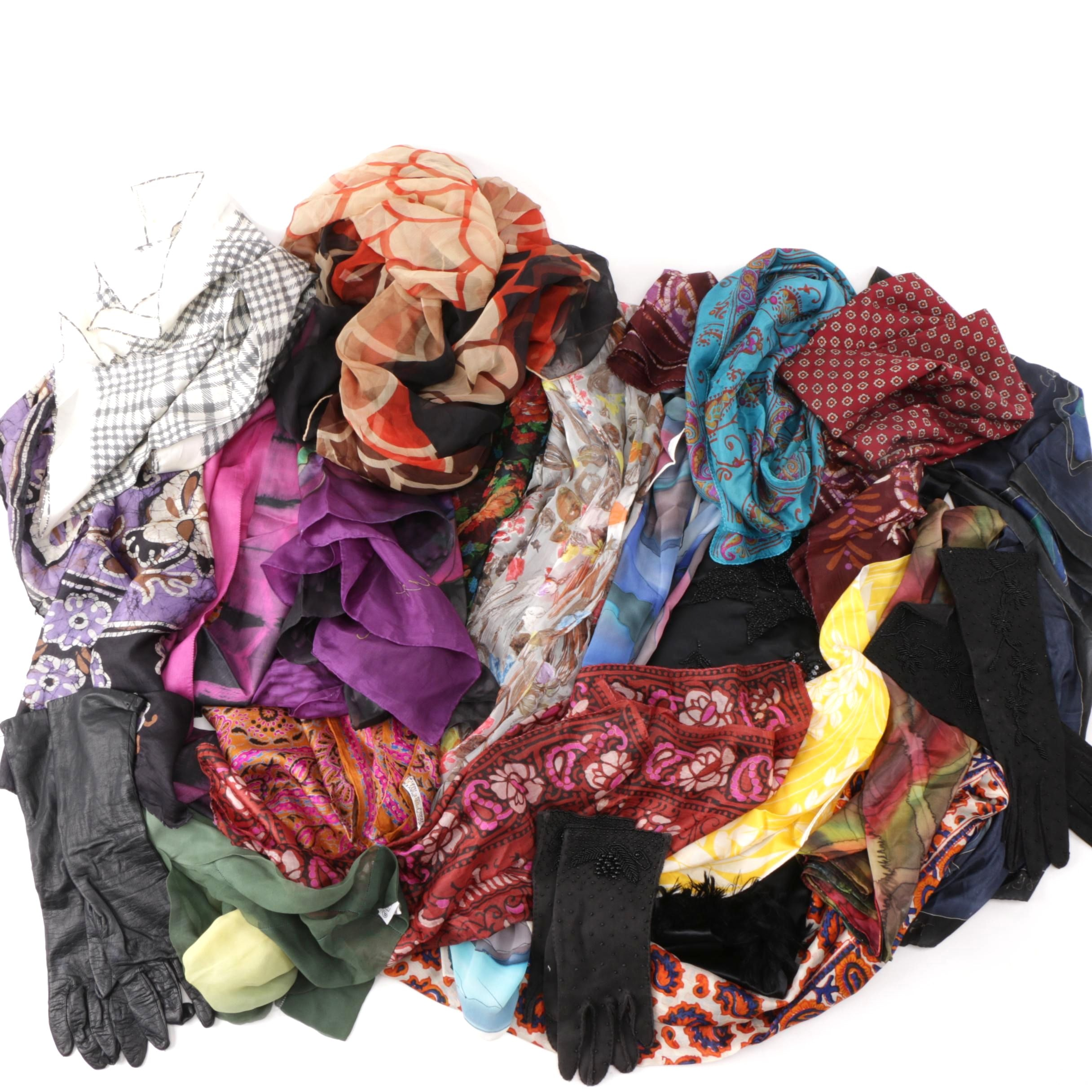 Collection of Scarves and Gloves