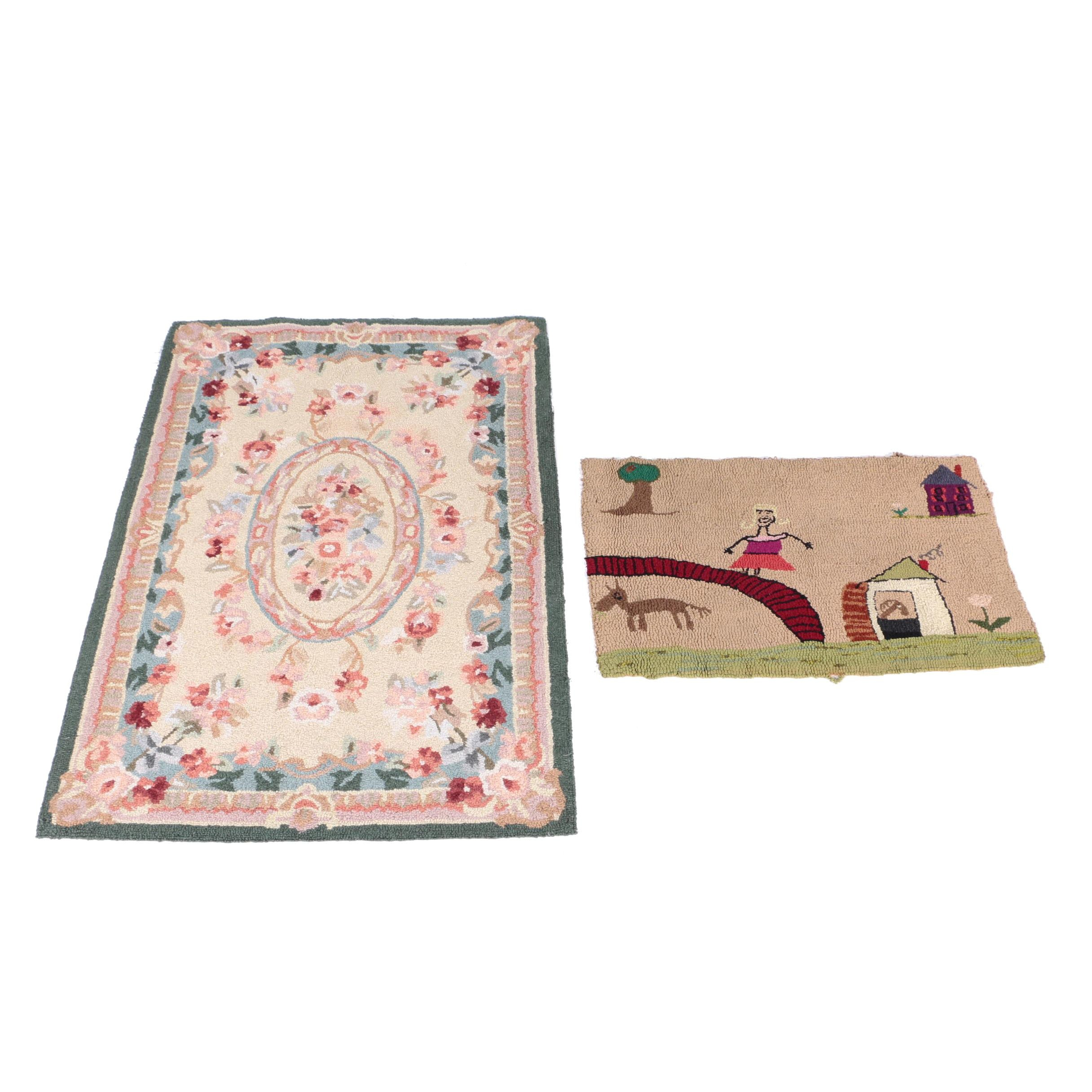 Hand-Hooked Floral and Pictorial Accent Rugs