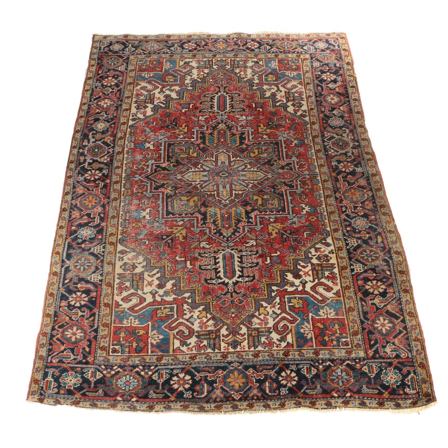 Hand Knotted Persian Wool Area Rug Ebth: Semi-Antique Hand-Knotted Persian Heriz Wool Area Rug : EBTH