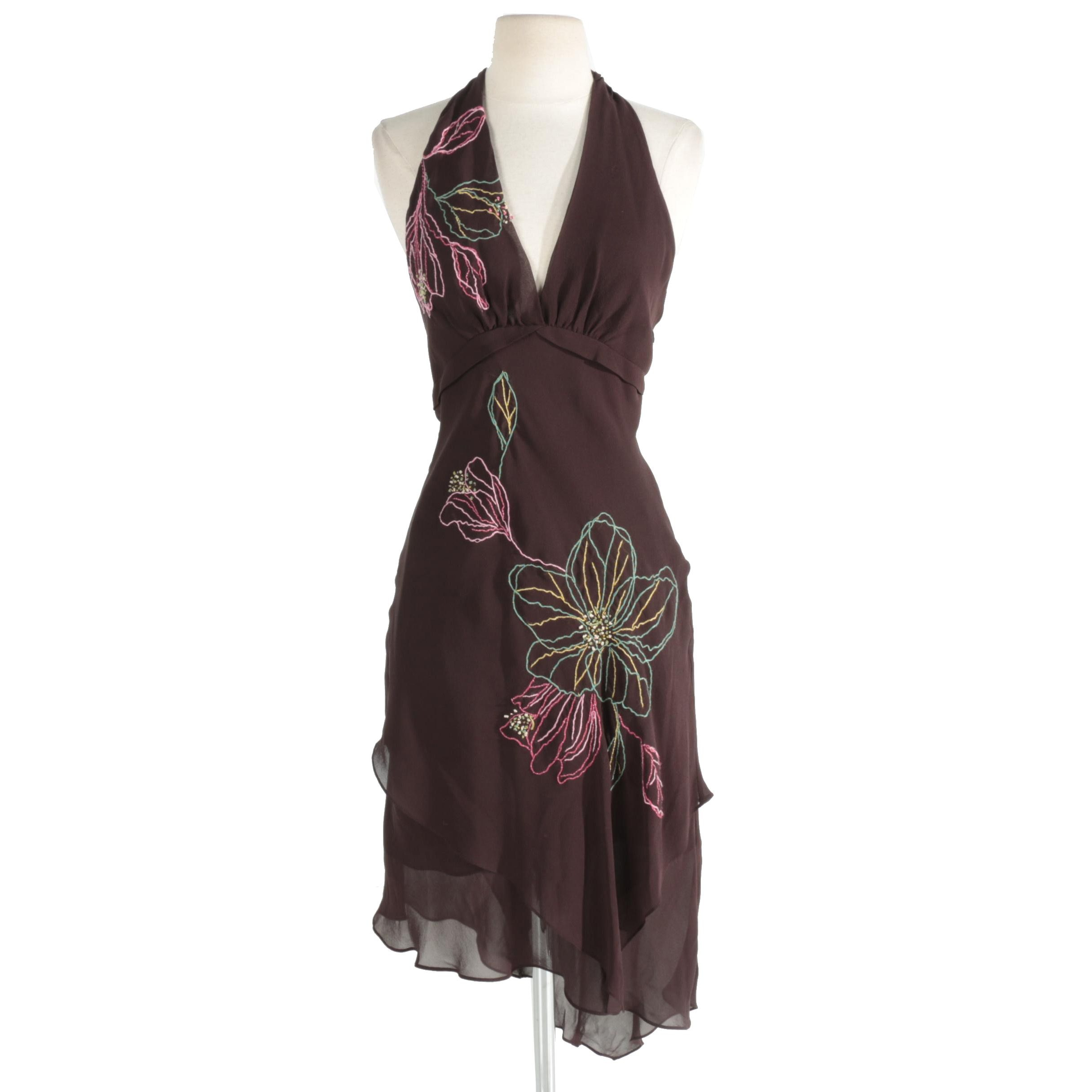 BCBG Max Azria Brown Embroidered Halter Dress