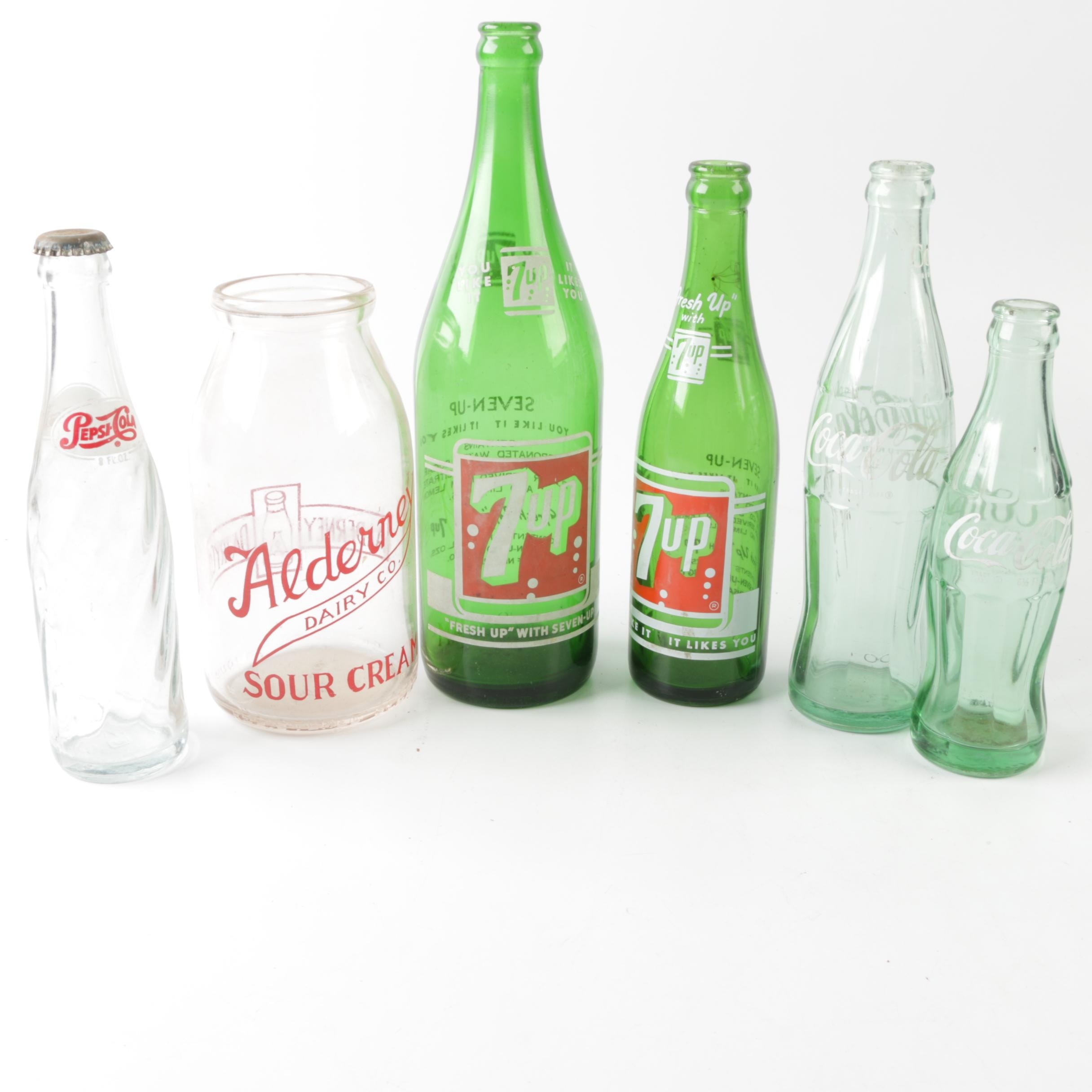 Glass Condiment and Soft Drink Bottles