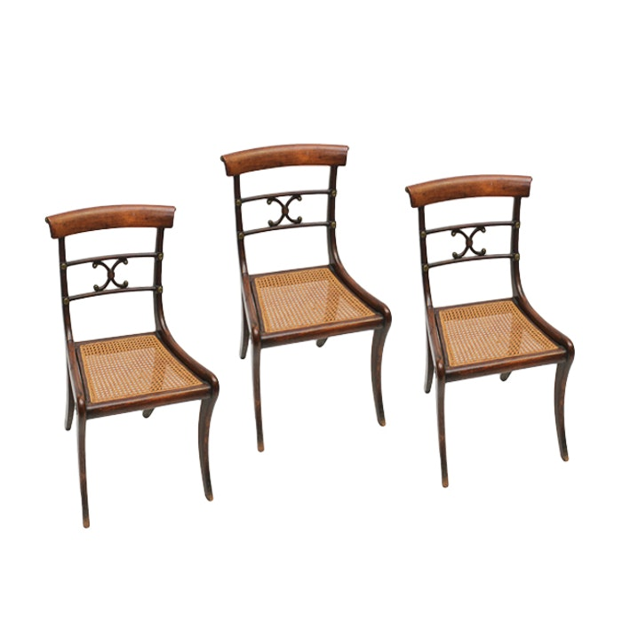Antique Regency Side Chairs with Brass Fittings