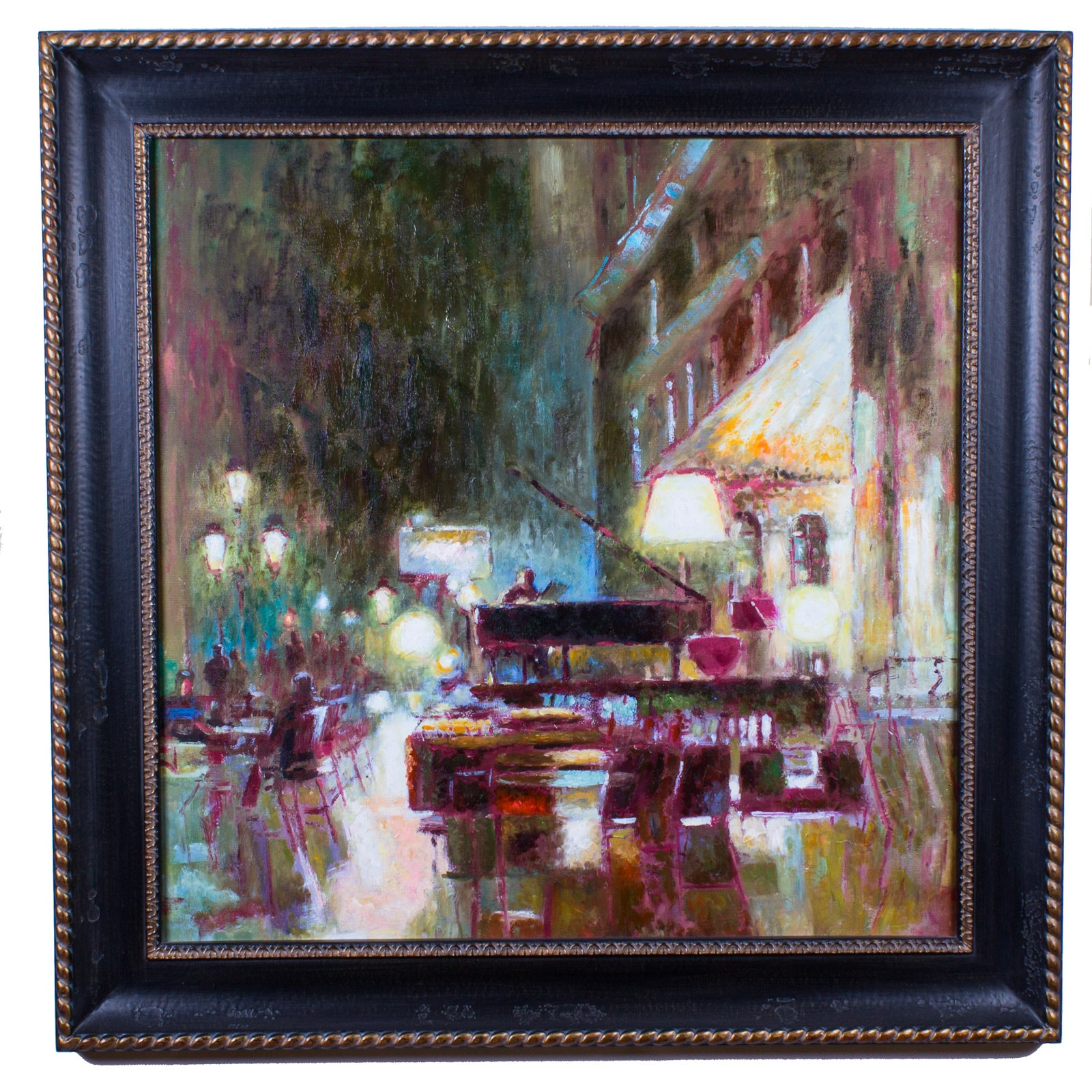 Framed Piano Bar Oil Painting on Canvas