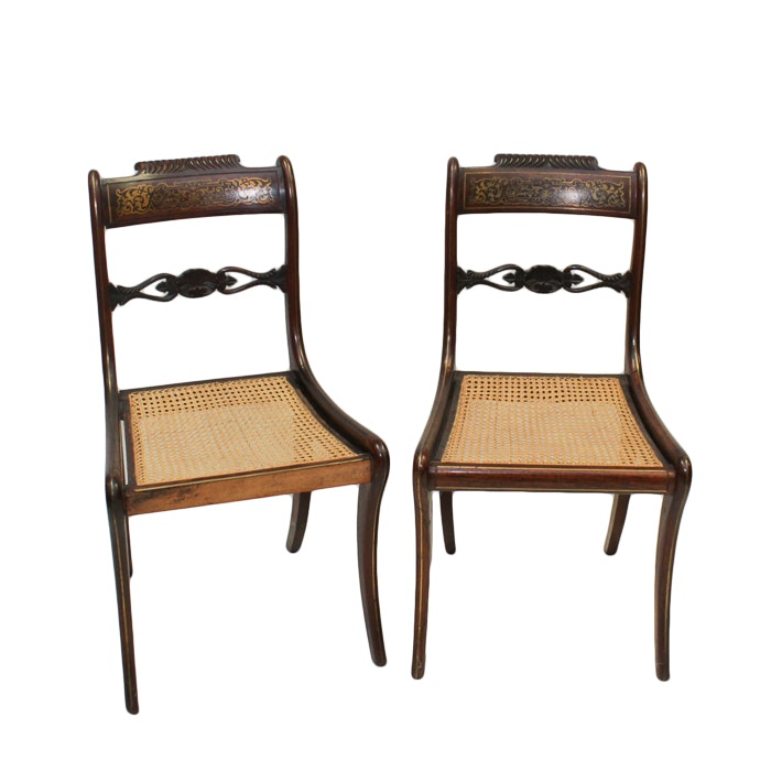 Antique Regency Mahogany Side Chairs with Brass Inlay