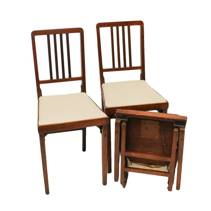 Three Vintage Folding Chairs by Leg-O-Matic