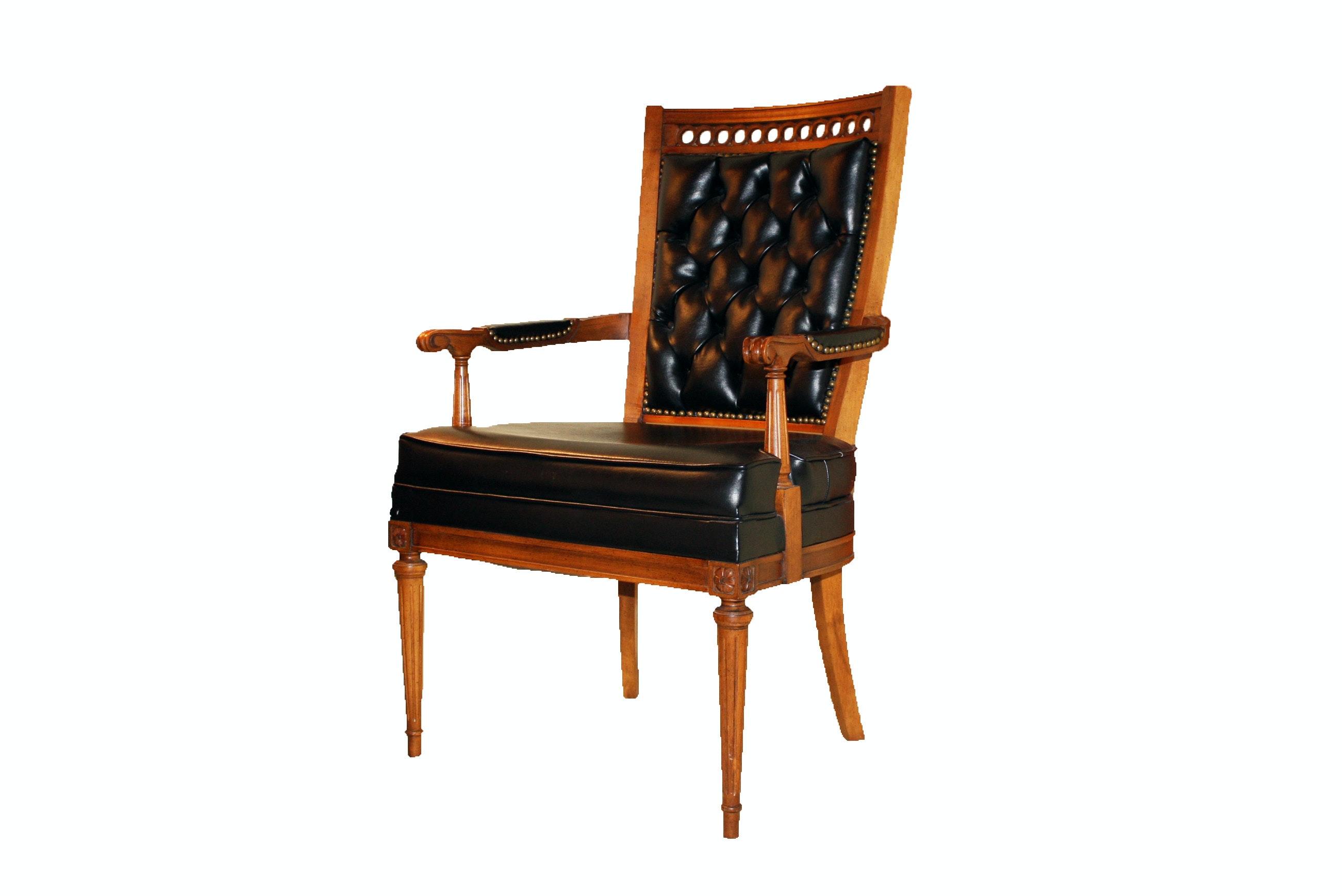 Vintage Black Leatherette and Maple Armchair