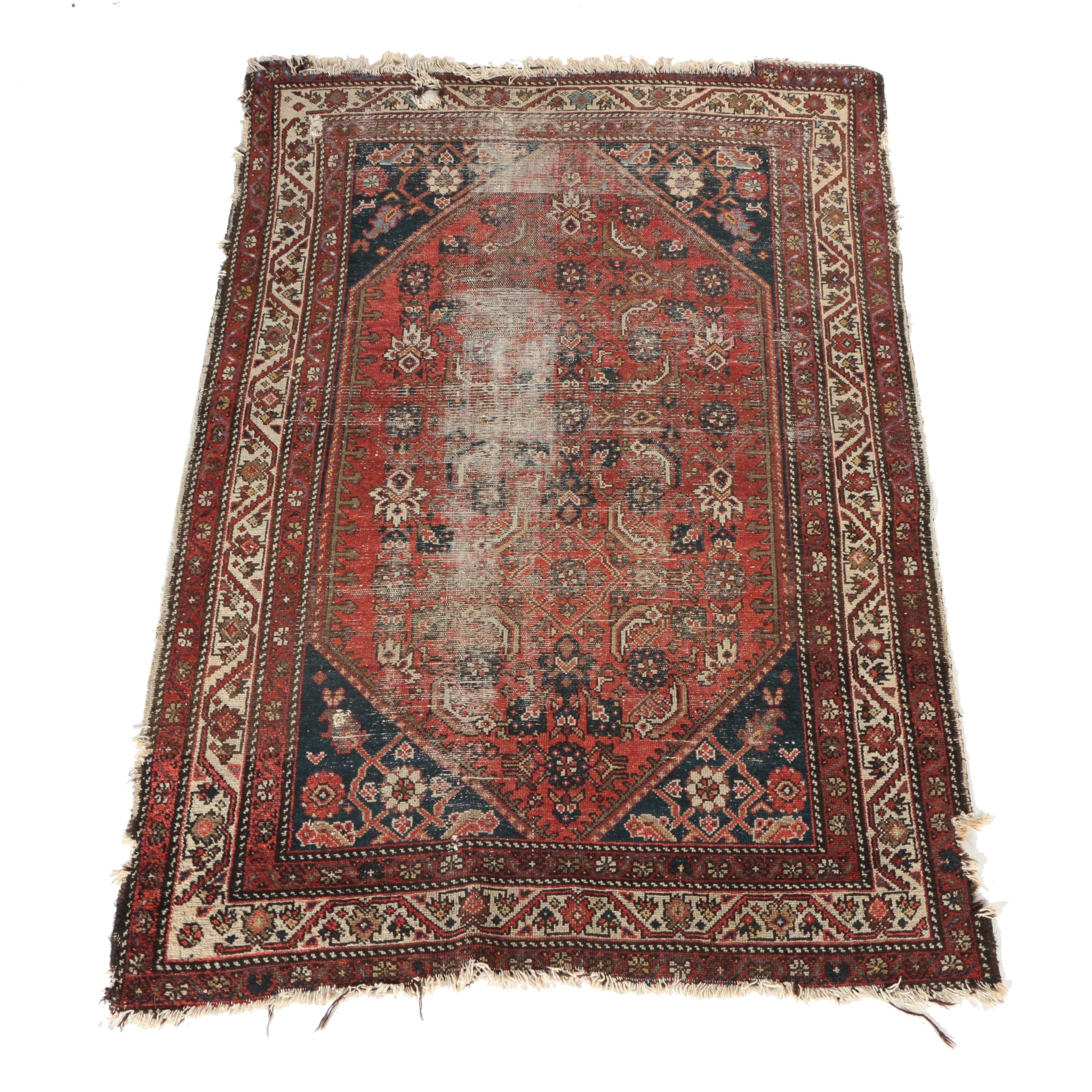 Antique Hand-Knotted Persian Bijar Area Rug