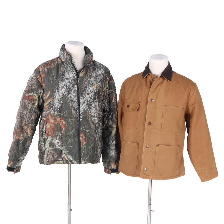 Mens Quilted Down Hunting Jacket And Canvas Jackets Ebth