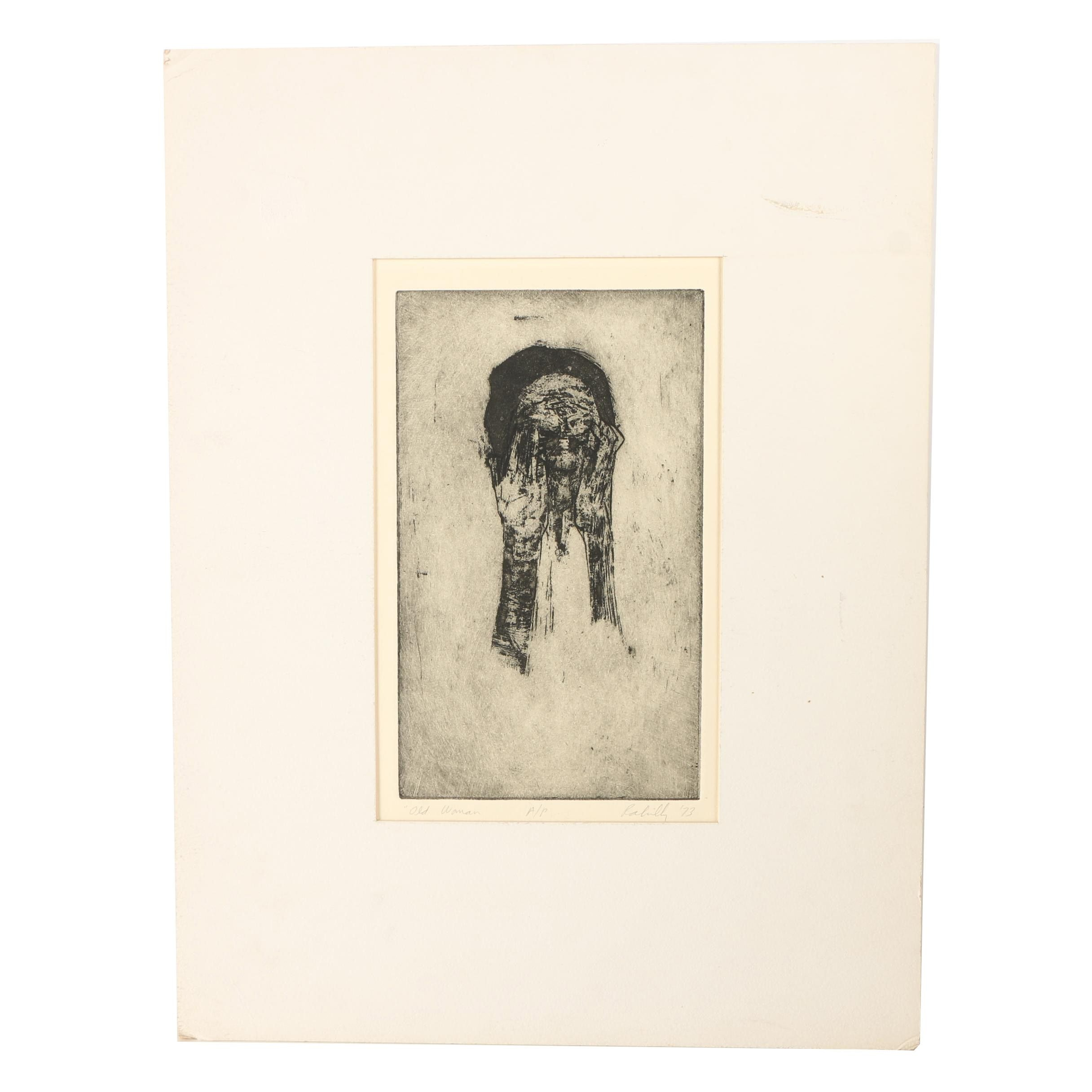 "Paul Rahilly 1973 Artist's Proof Aquatint Etching on Paper ""Old Woman"""