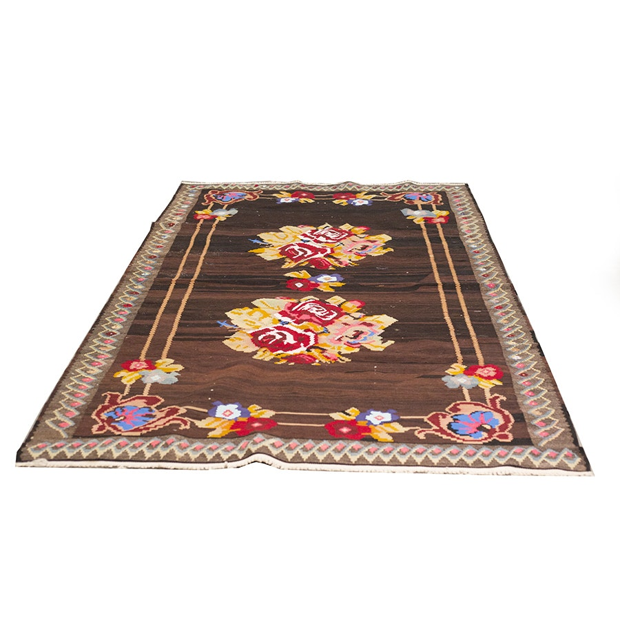 Handwoven Turkish Kilim Wool Area Rug