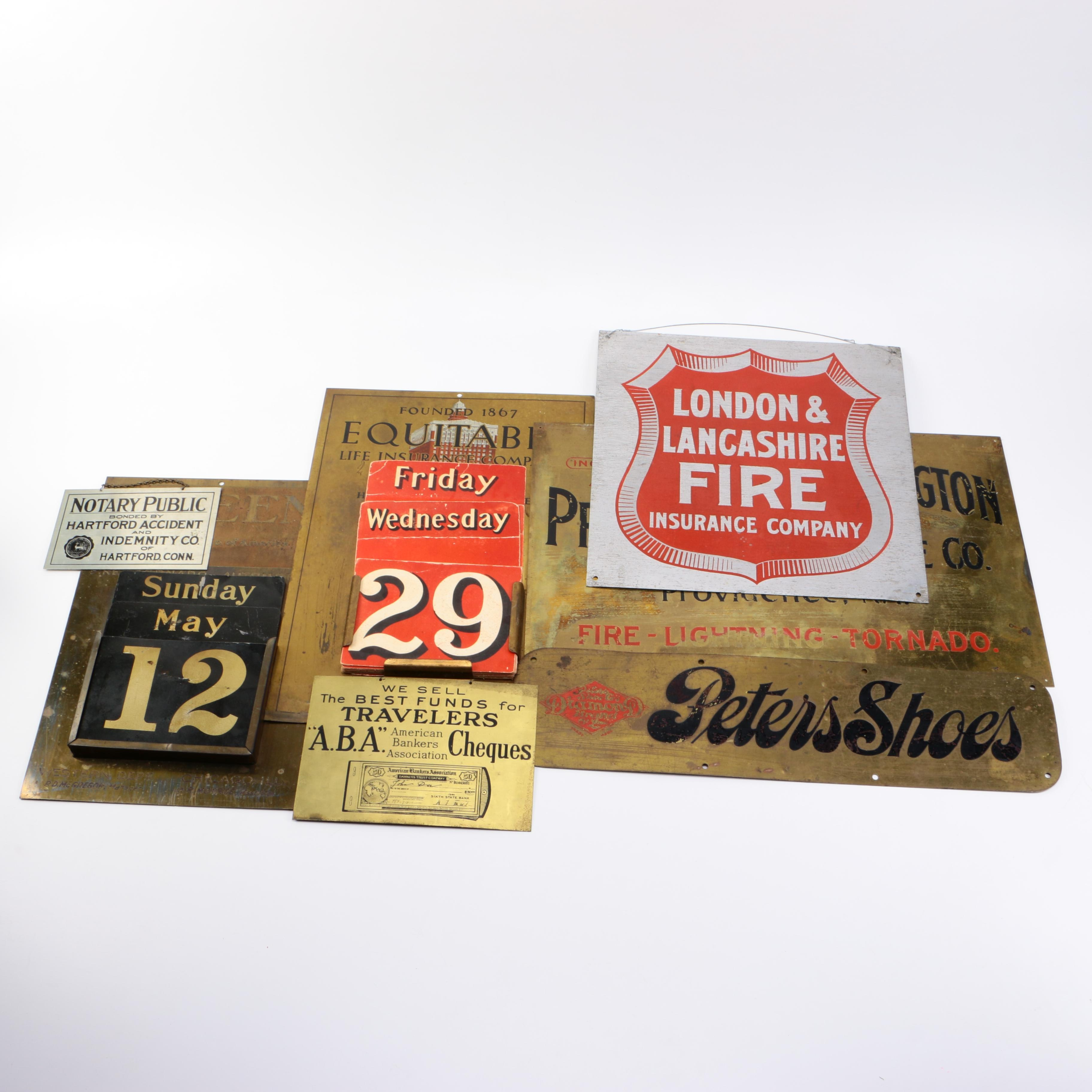 Assorted Vintage Metal Signs and Calendars