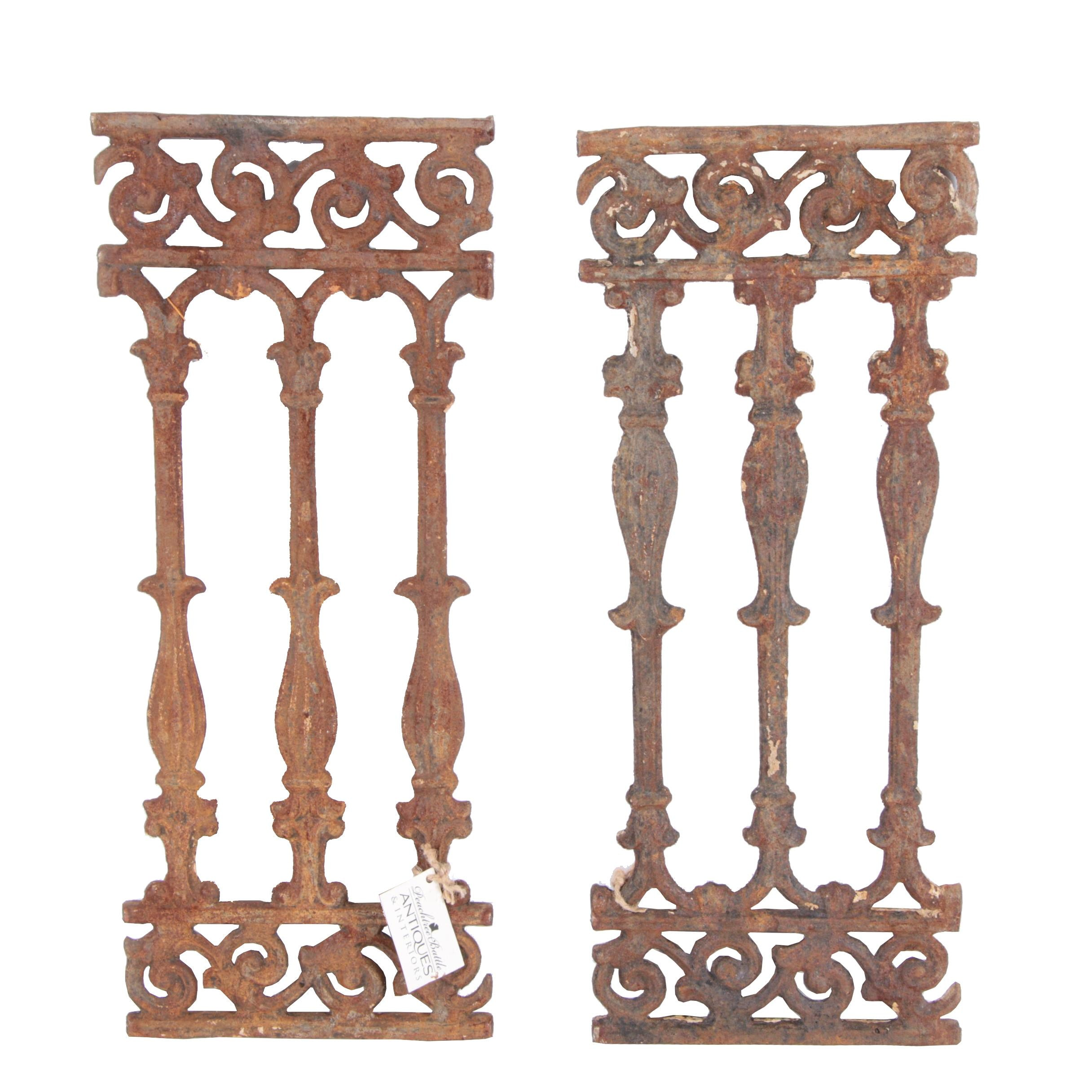 Pair of Antique Wrought Iron Decor Pieces