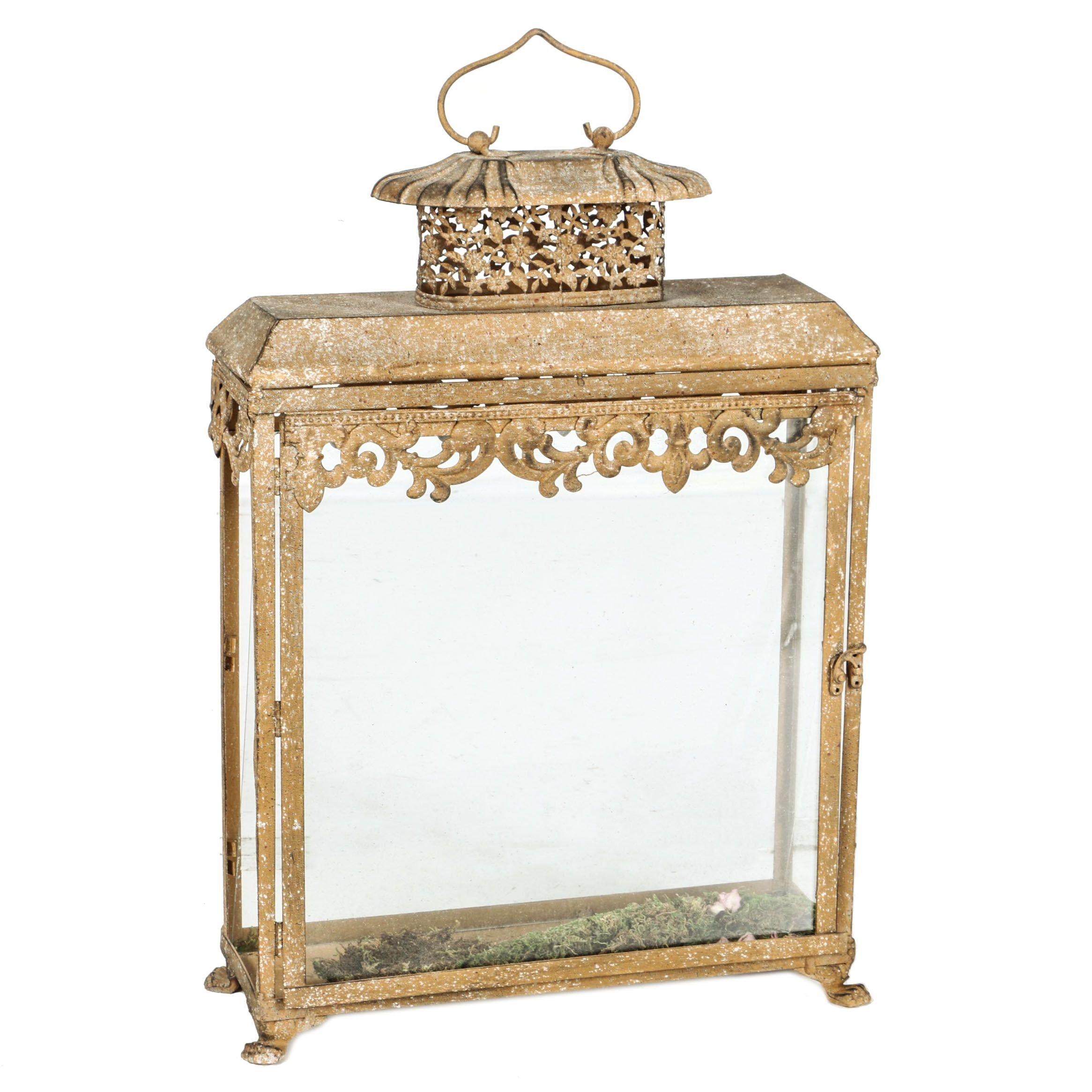 Glass and Metal Lantern Style Display Box