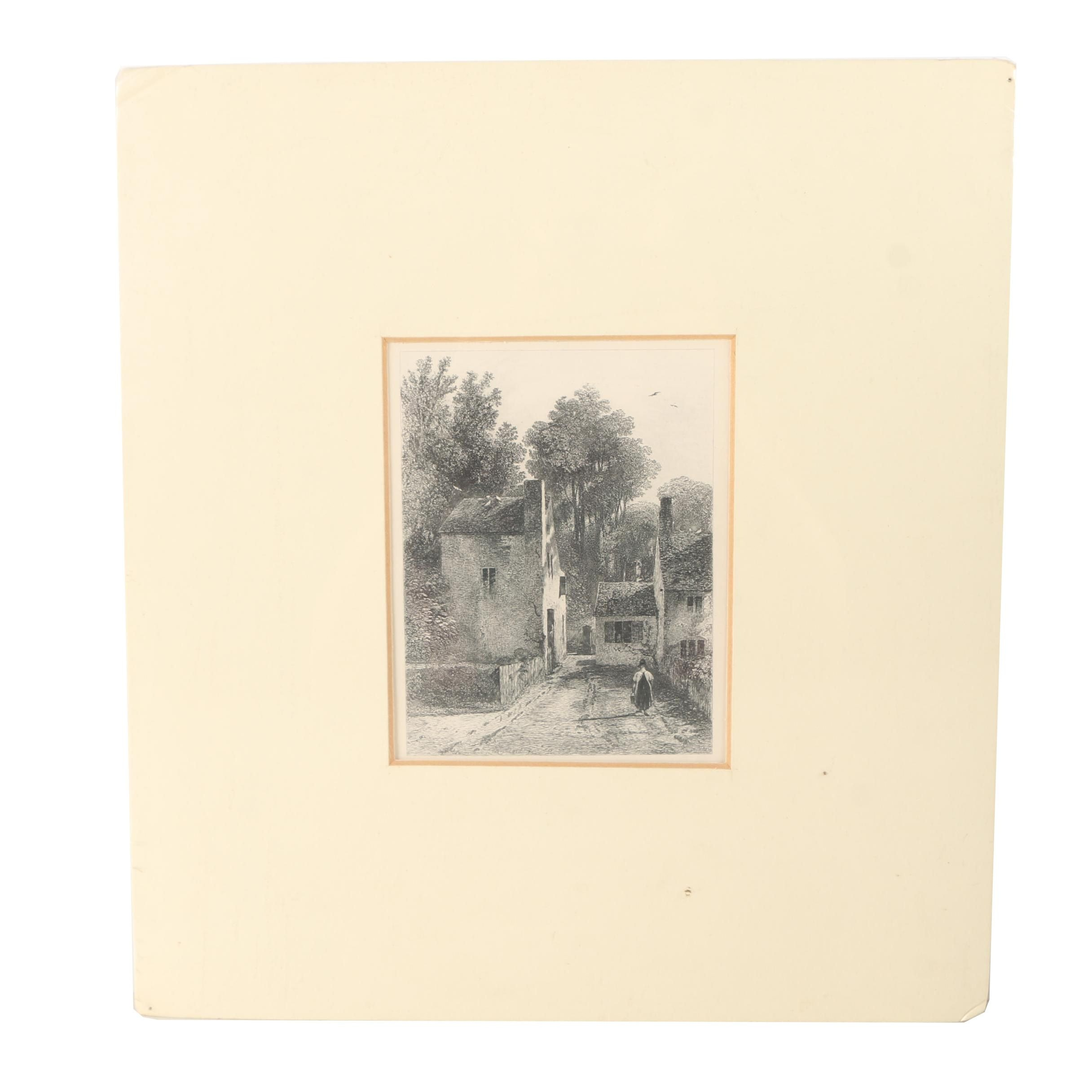 Etching of Woman Walking Down a Village Road