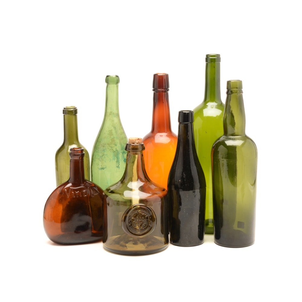 Group of Eight Vintage and Antique Glass Bottles