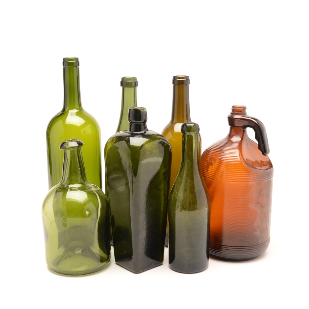 Seven Antique Glass Bottles