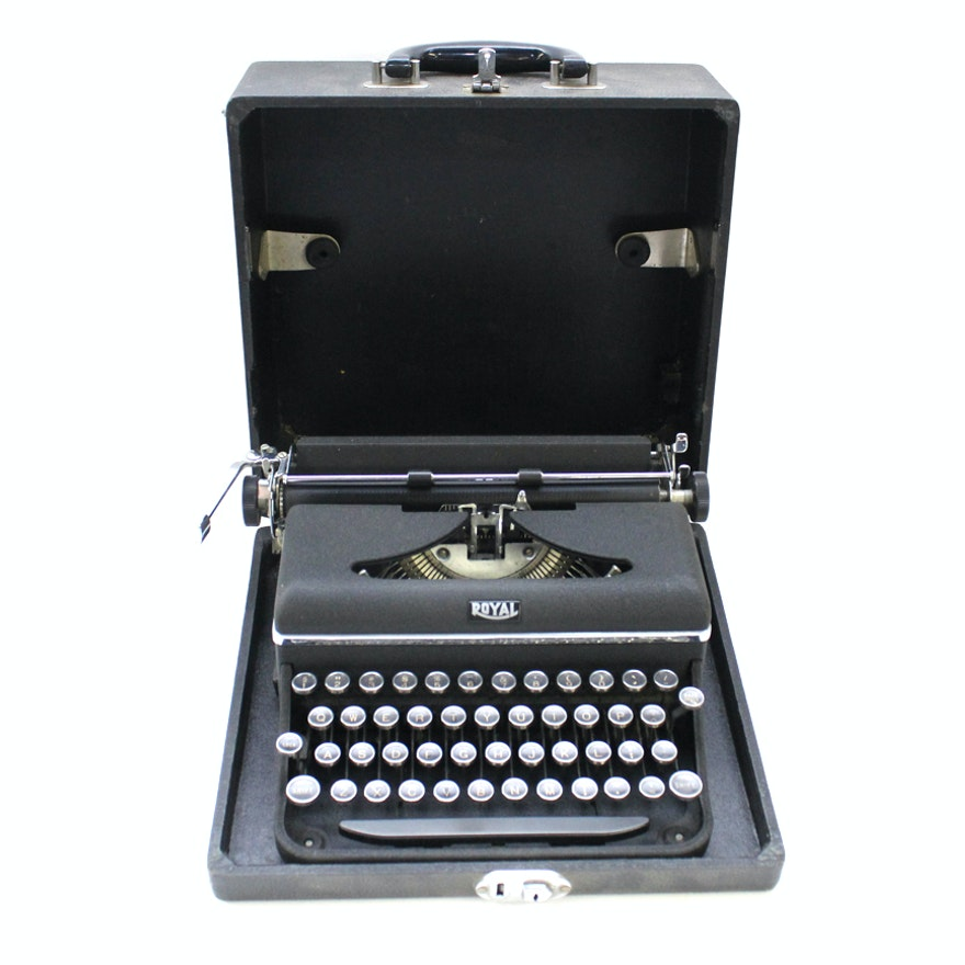 Vintage Manual Typewriter in Case By Royal Typewriter Company