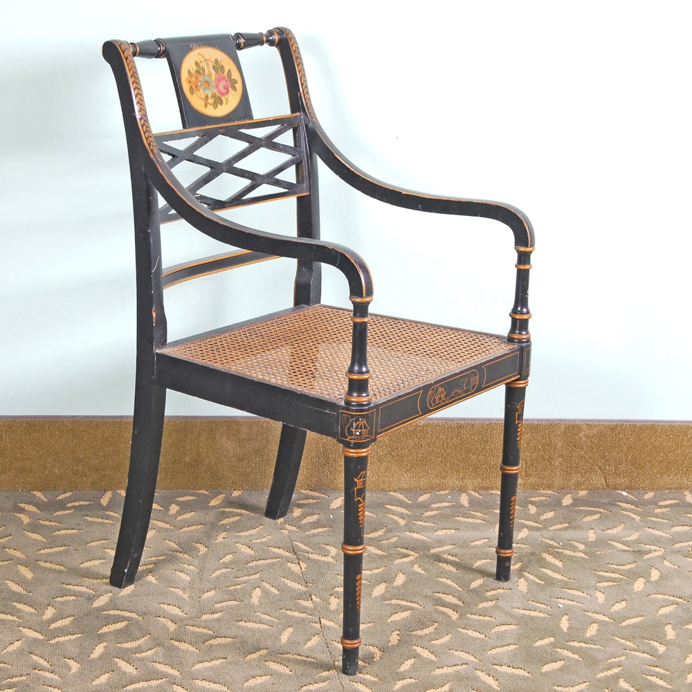 Sheraton Style Caned Seat Armchair