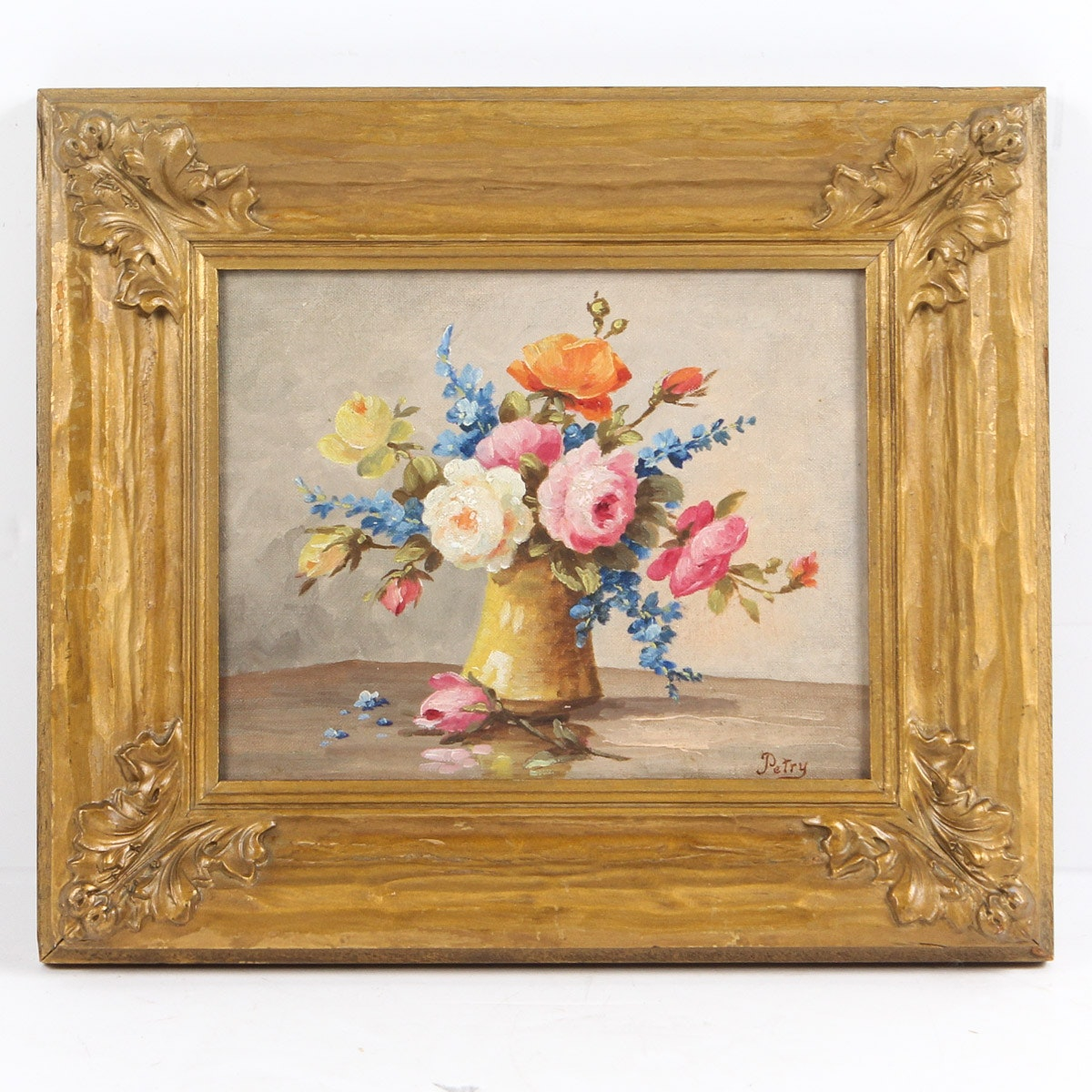 Victor Petry Oil on Canvas Board of Floral Still Life